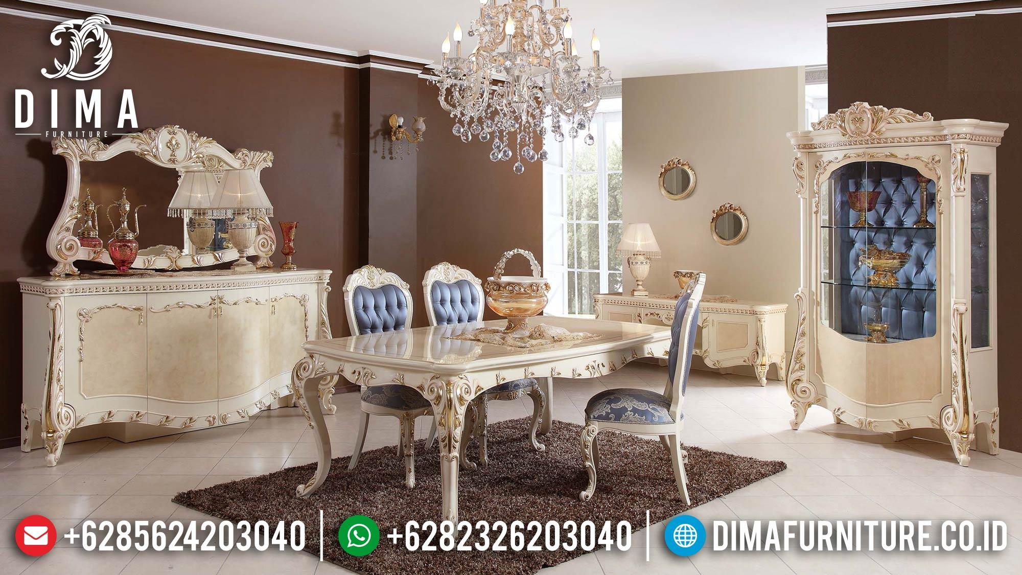 Meja Makan Jepara Mewah Ukir Terbaru Duco Putih Emas Seri Elmas DF-0468