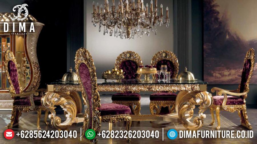 Set Kursi Meja Makan Mewah Jepara Ukiran Klasik Luxury Cat Duco Emas DF-0466