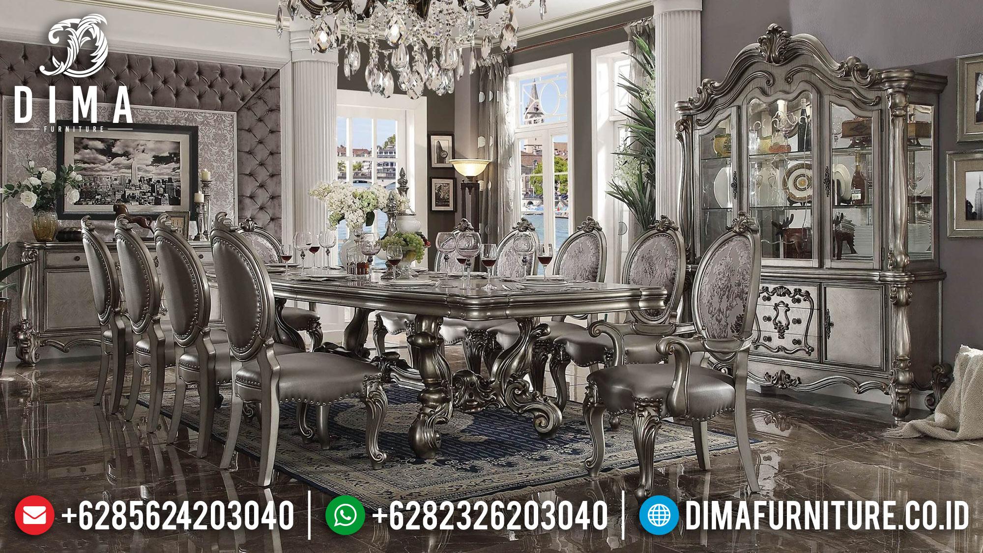 Meja Makan Mewah Jepara Terbaru Varsilles Duco Silver DF-0503