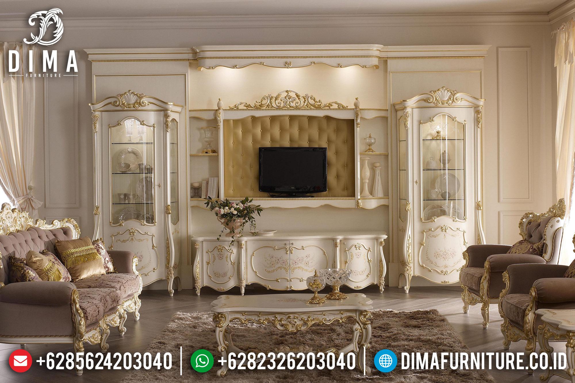 Mebel Terbaru Bufet TV Mewah Jepara Klasik Duco Ivory Emas DF-0516