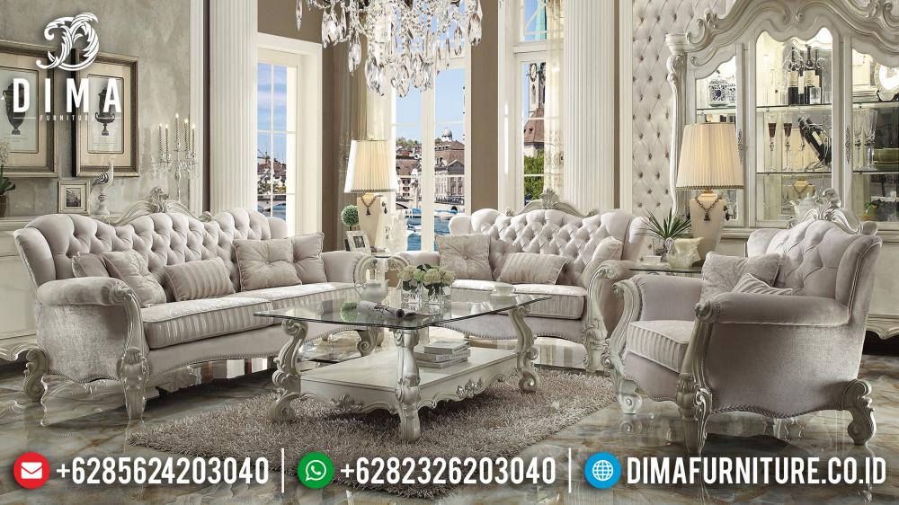 Desain Ruang Tamu Super Mewah sofa tamu jepara mewah cat duco ivory silver samjones df 0518