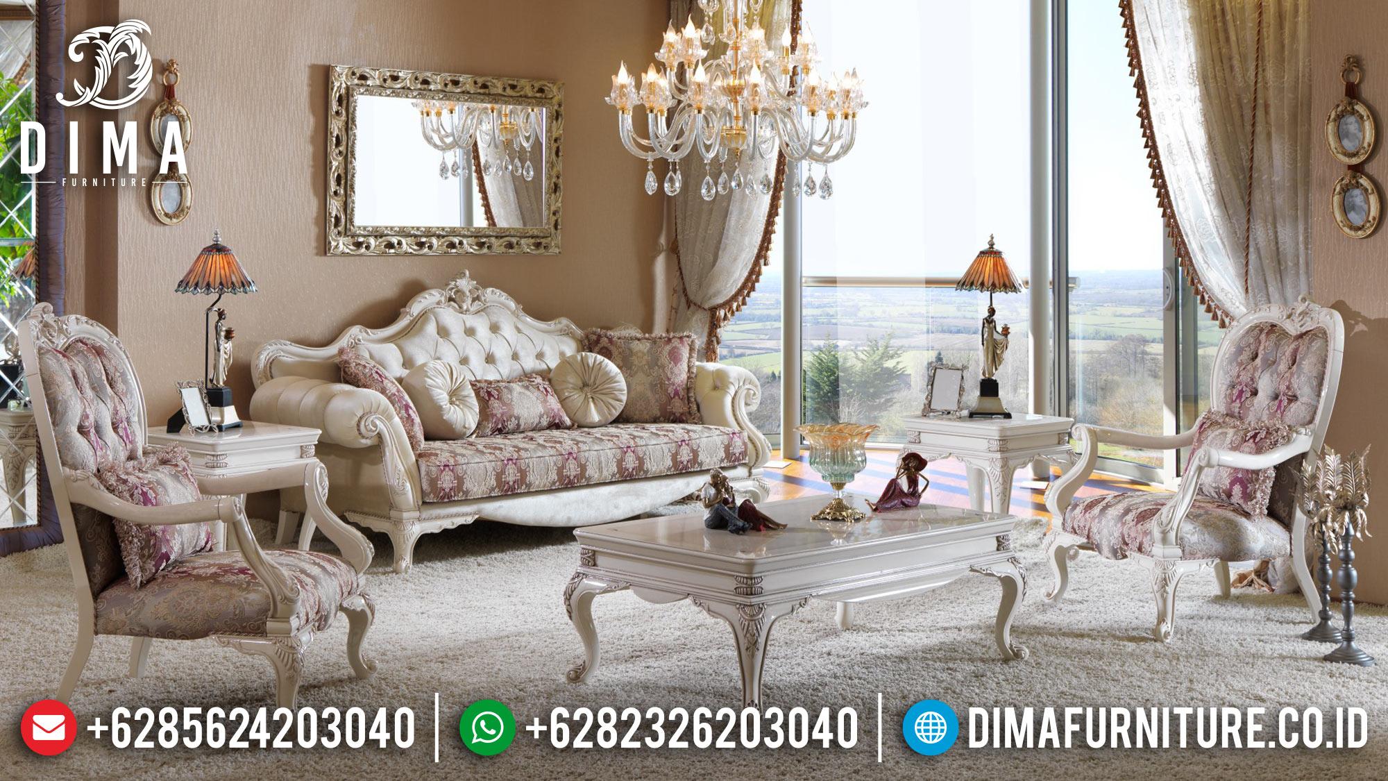 Sofa Ruang Tamu Jepara Mewah Terbaru Zumrut Duco Ivory DF-0529