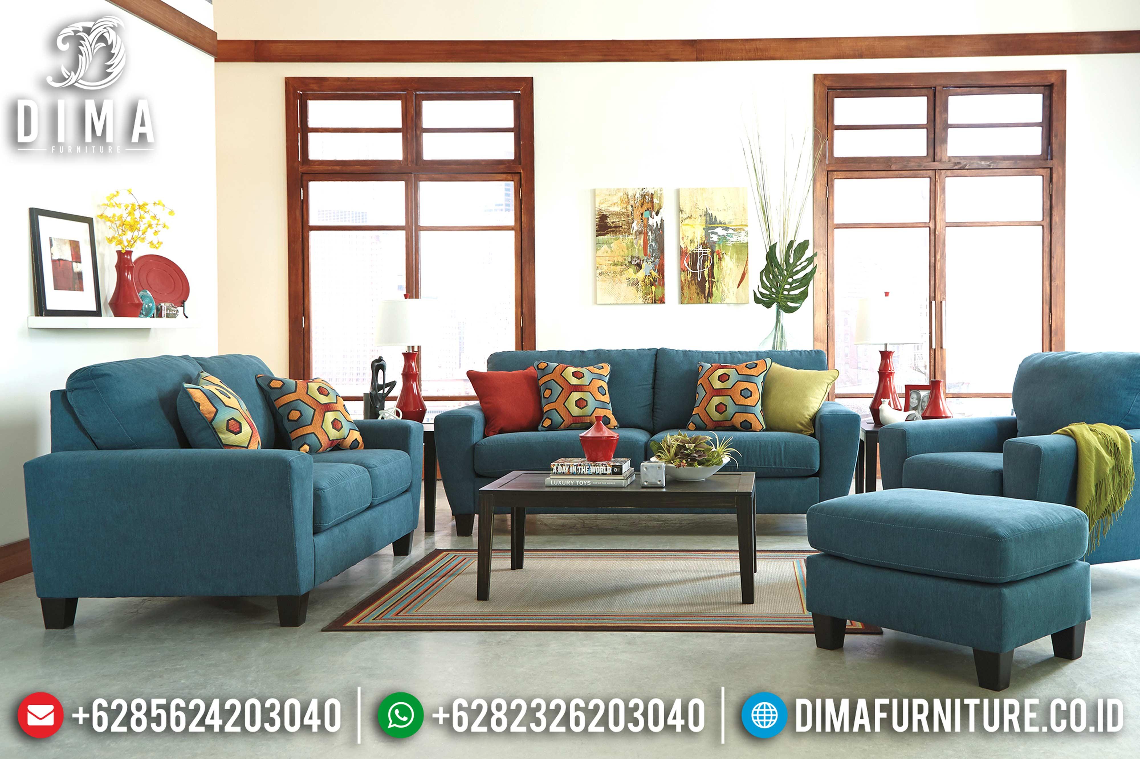 Jual 1 Set Sofa Tamu Jepara Minimalis Mewah Terbaru Canvas Dark Blue DF-0573