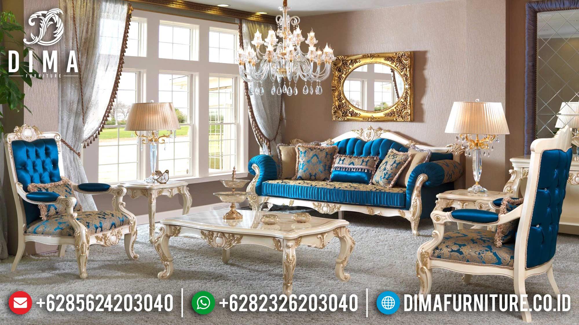 Sofa Tamu Jepara Mewah Terbaru Duco Ivory Emas Victorian DF-0578