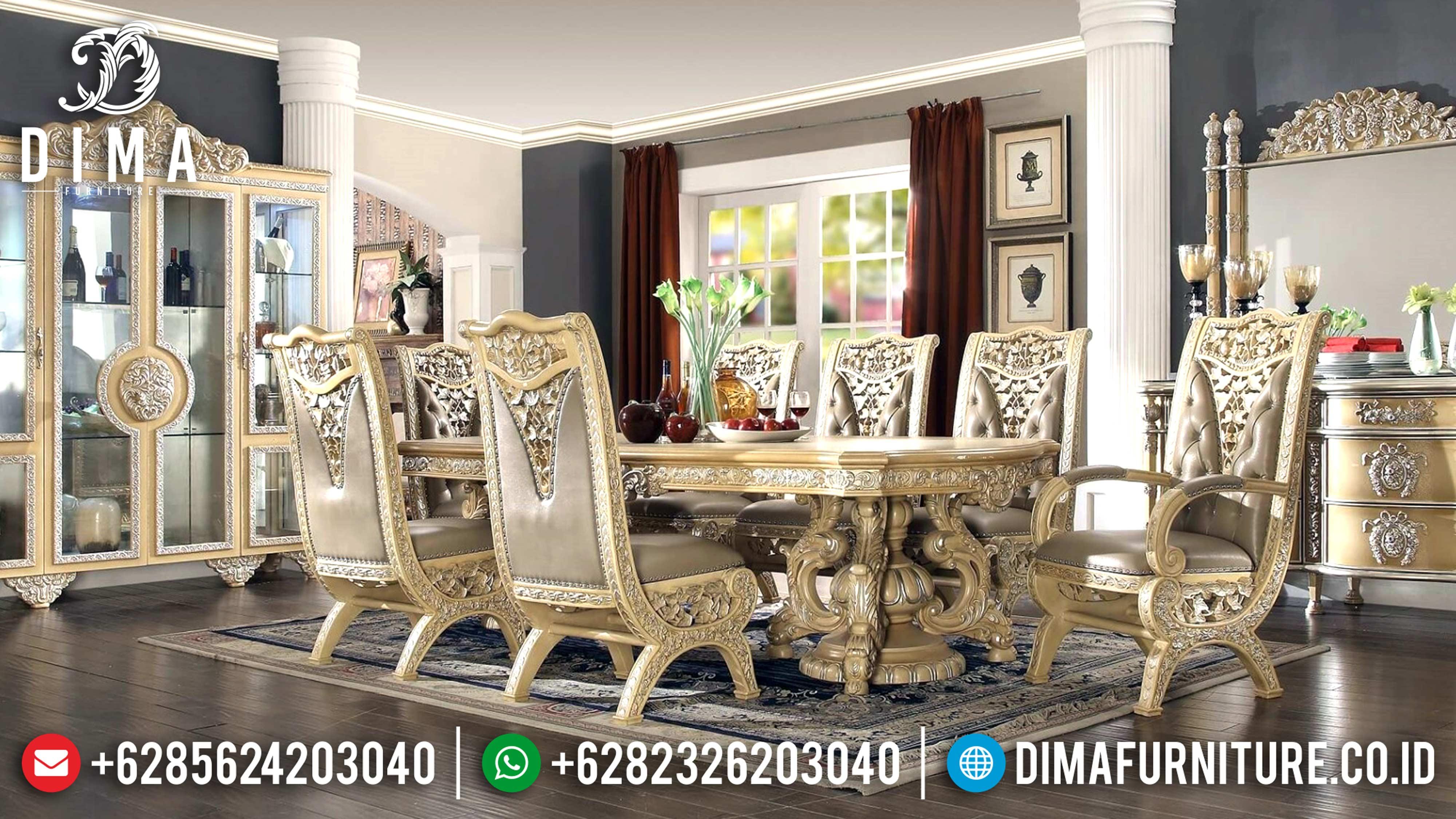 Klasik Furniture Meja Makan Mewah Jepara Ukir Seri Casabella DF-0594