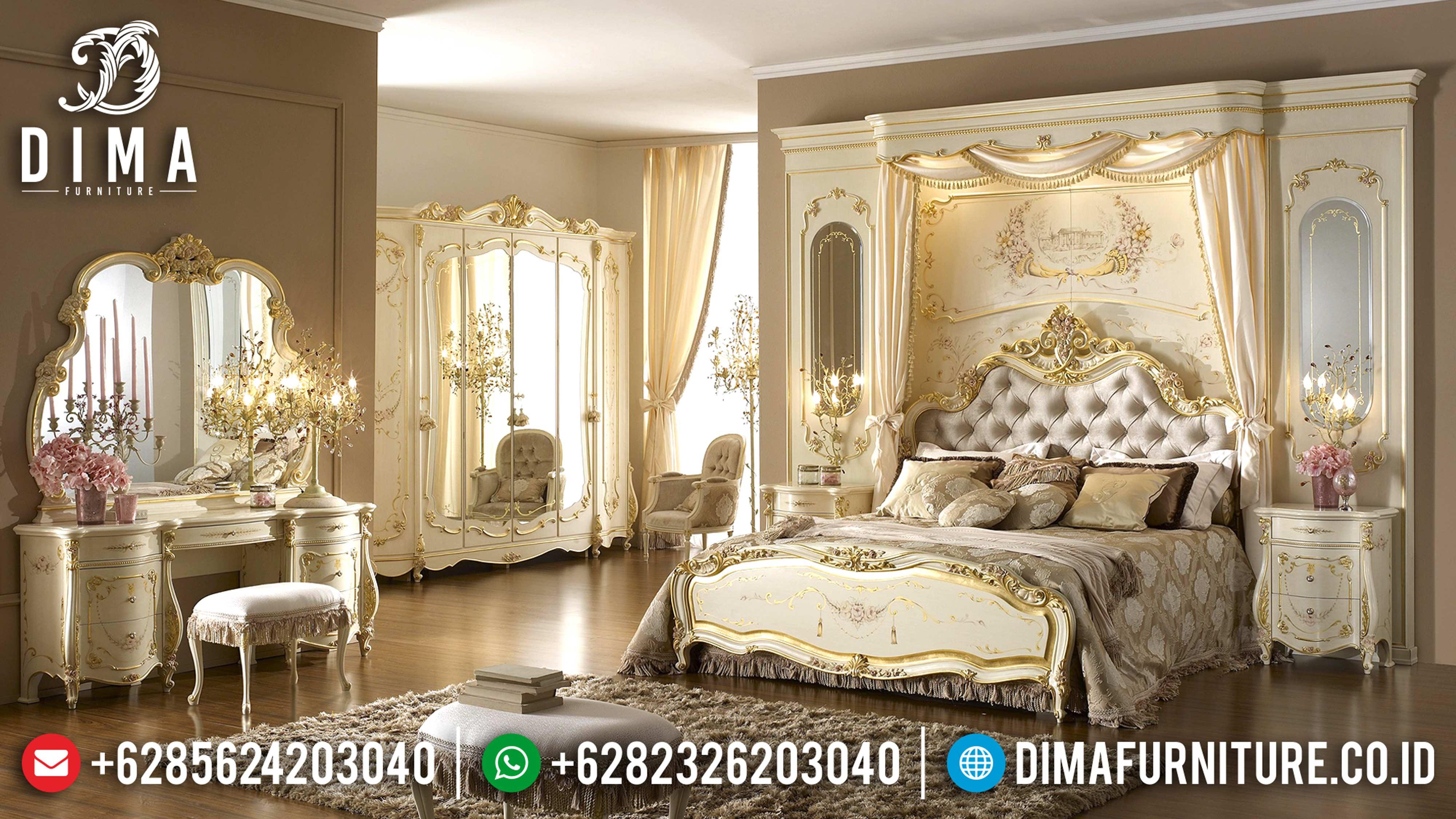 Klasik Furniture Set Tempat Tidur Mewah Ukiran Jepara Terbaru Monnalisa DF-0601