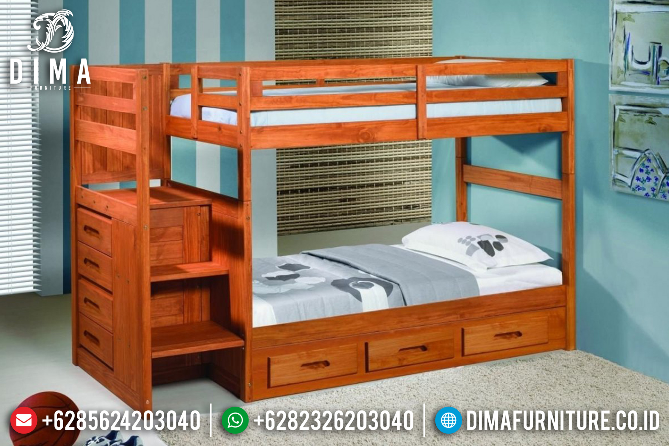 Mebel Jepara Terbaru Tempat Tidur Anak Model Tingkat Minimalis Jati DF-0618