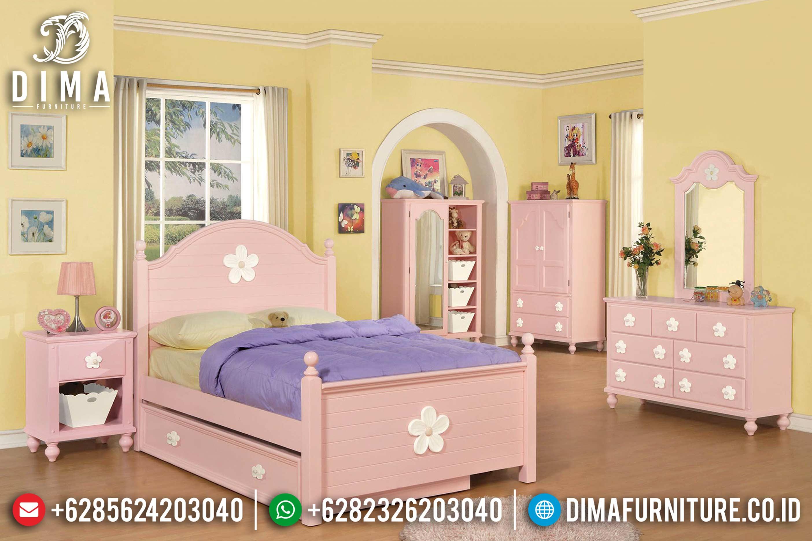 Set Kamar Tidur Anak Minimalis Mebel Jepara Terbaru Pink Duco DF-0612