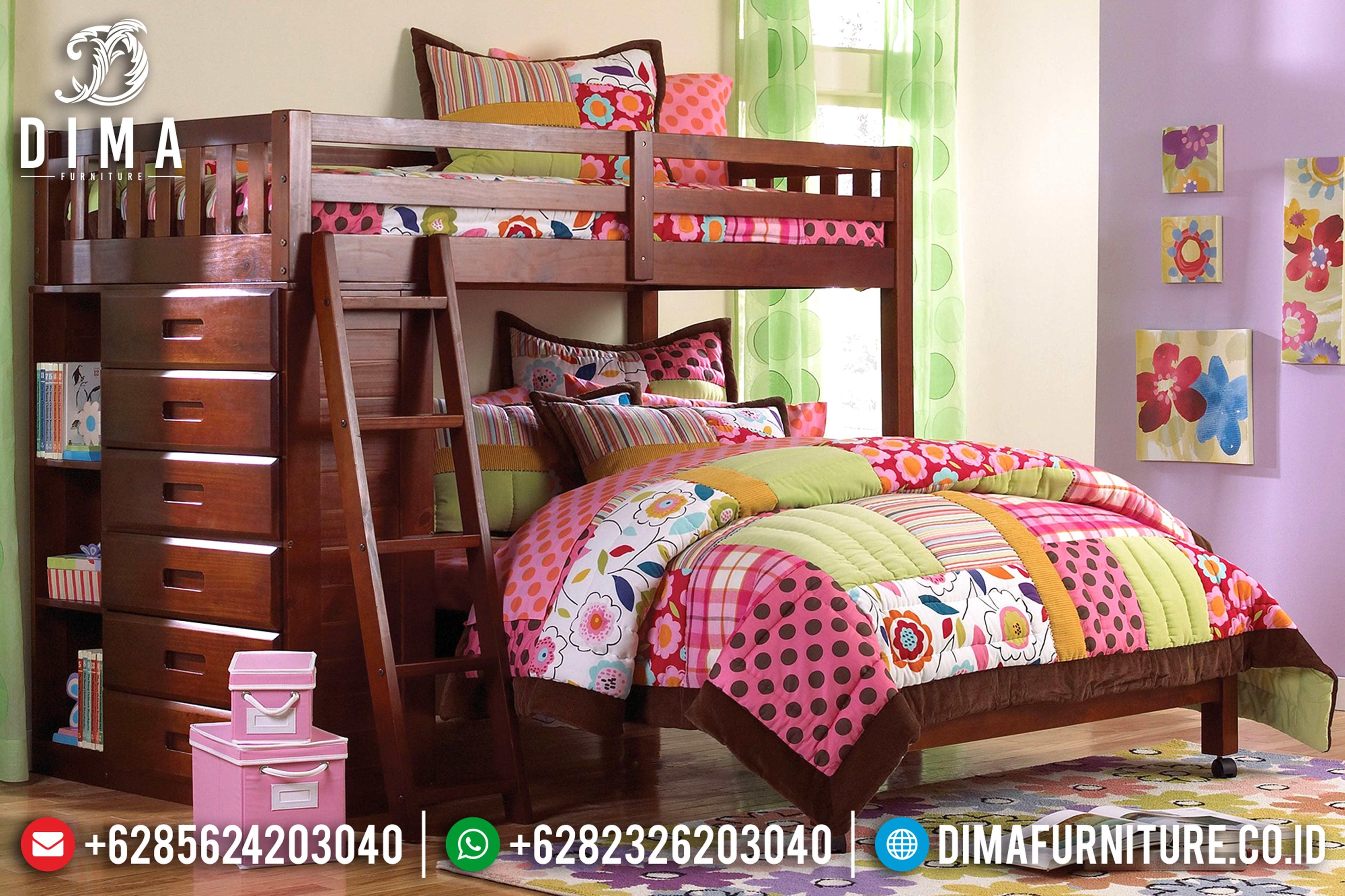 Tempat Tidur Tingkat, Kamar Set Minimalis, Dipan Tingkat Jati Jepara DF-0616
