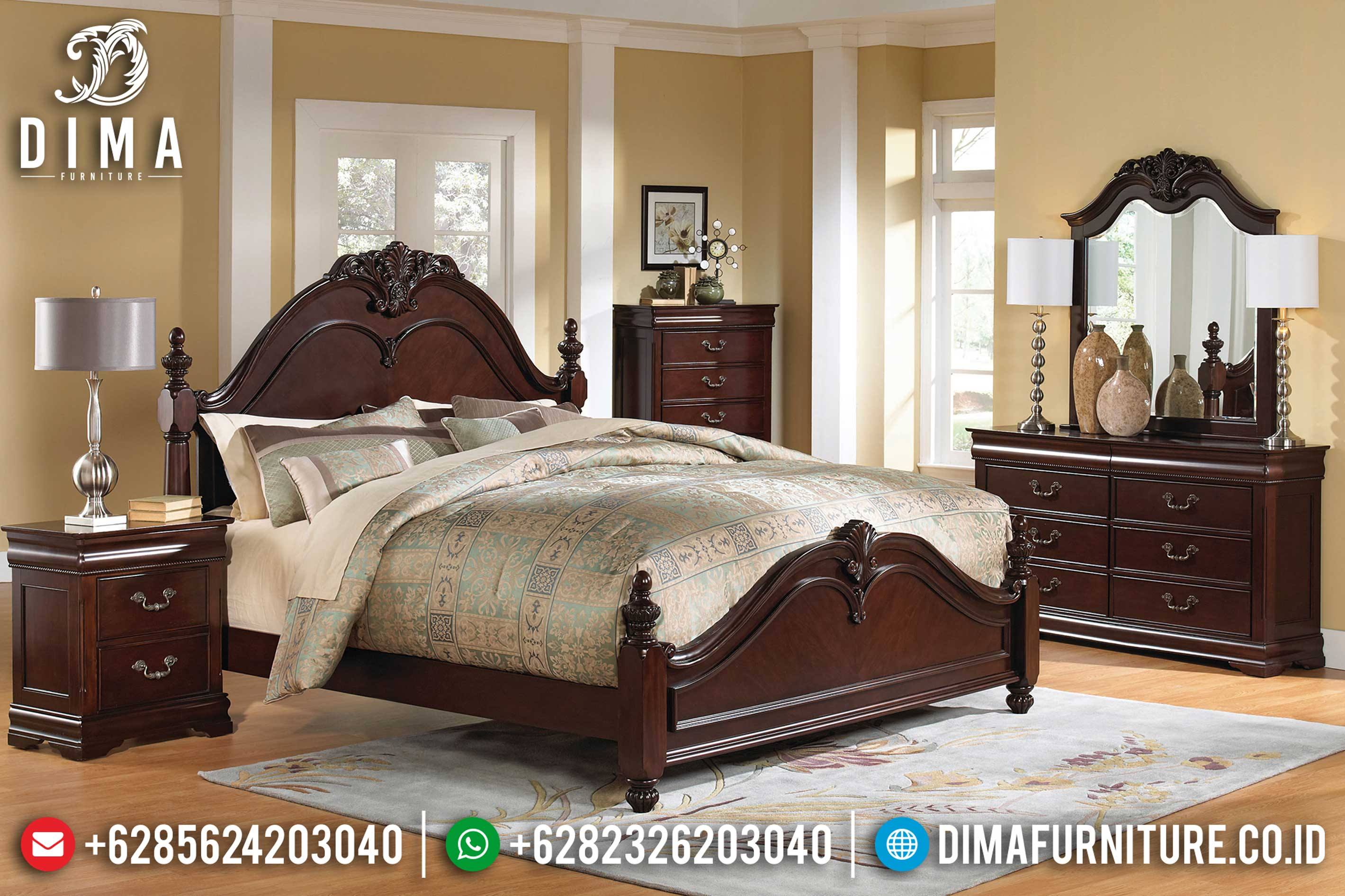 Jual 1 Set Tempat Tidur Jepara Minimalis Mewah Terbaru Jati TPK DF-0635