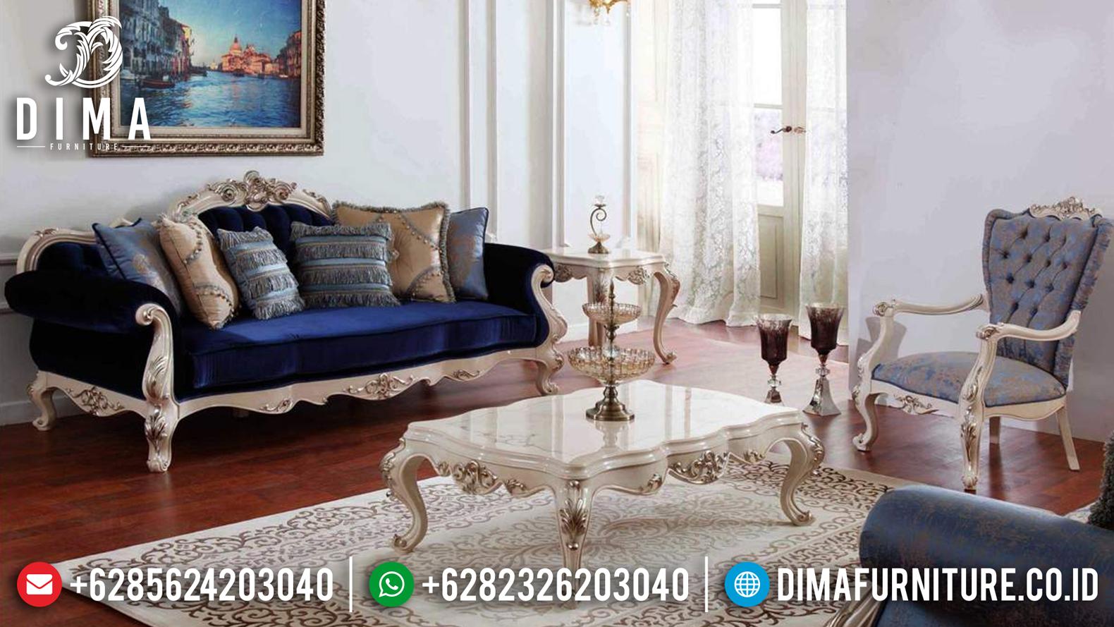 Set Sofa Tamu Jepara Mewah Osmanli Duco Putih Silver Terbaru DF-0645