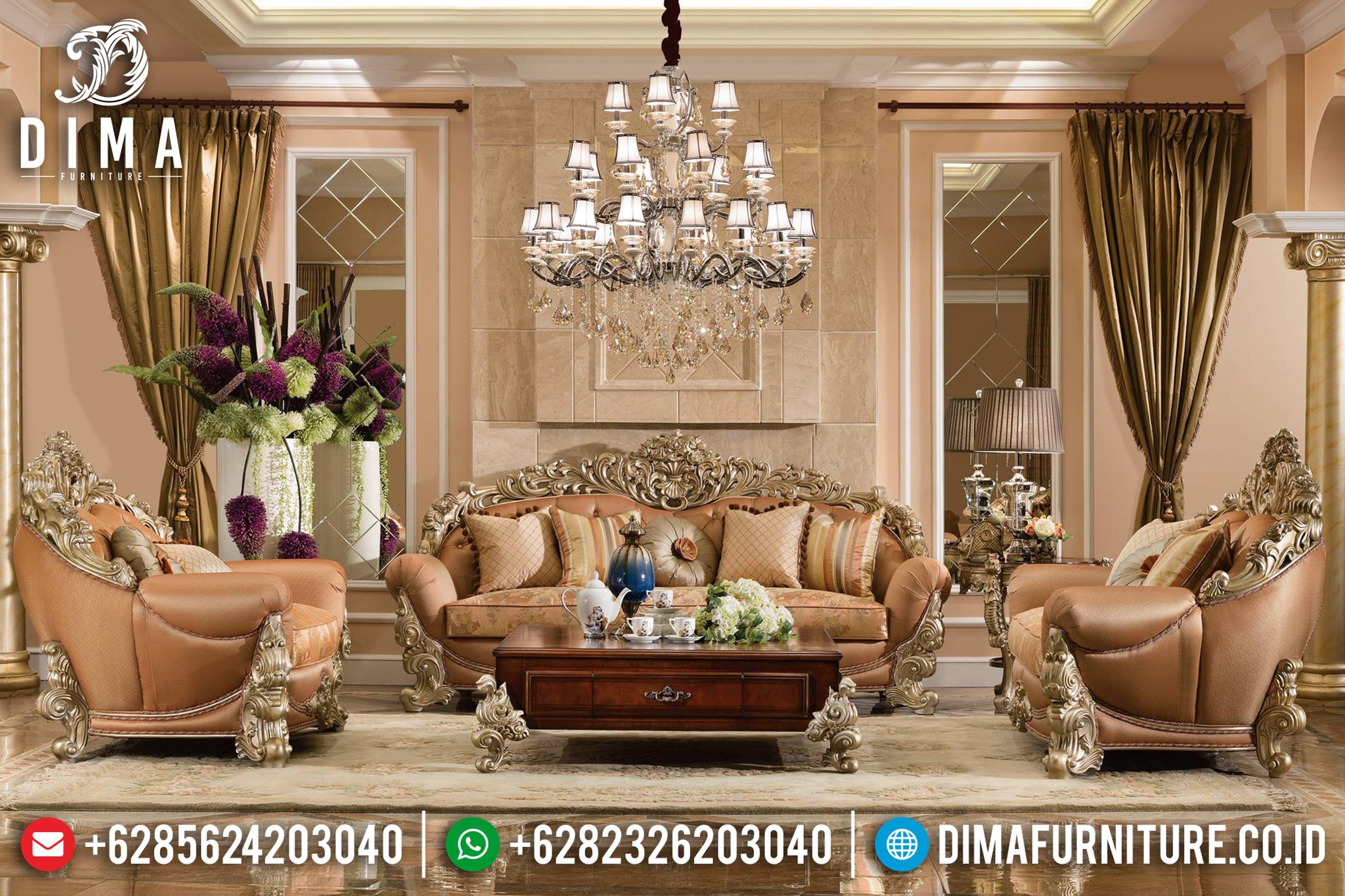 Sofa Tamu Jepara Mewah Terbaru Super Luxury Waldrof Brunello DF-0633