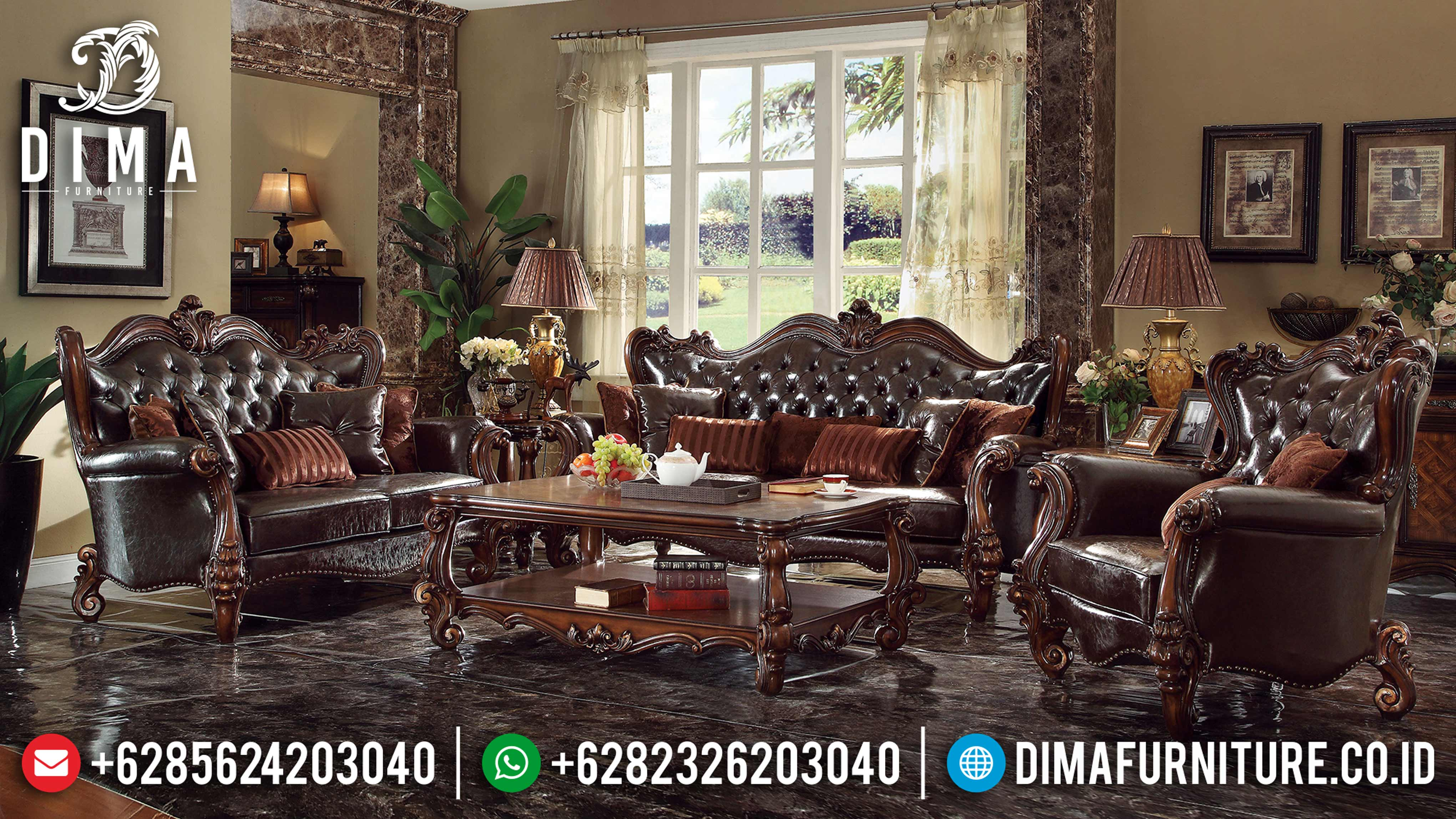 Sofa Tamu Jepara Mewah Classic Royal Victorian Natural Finish DF-0653