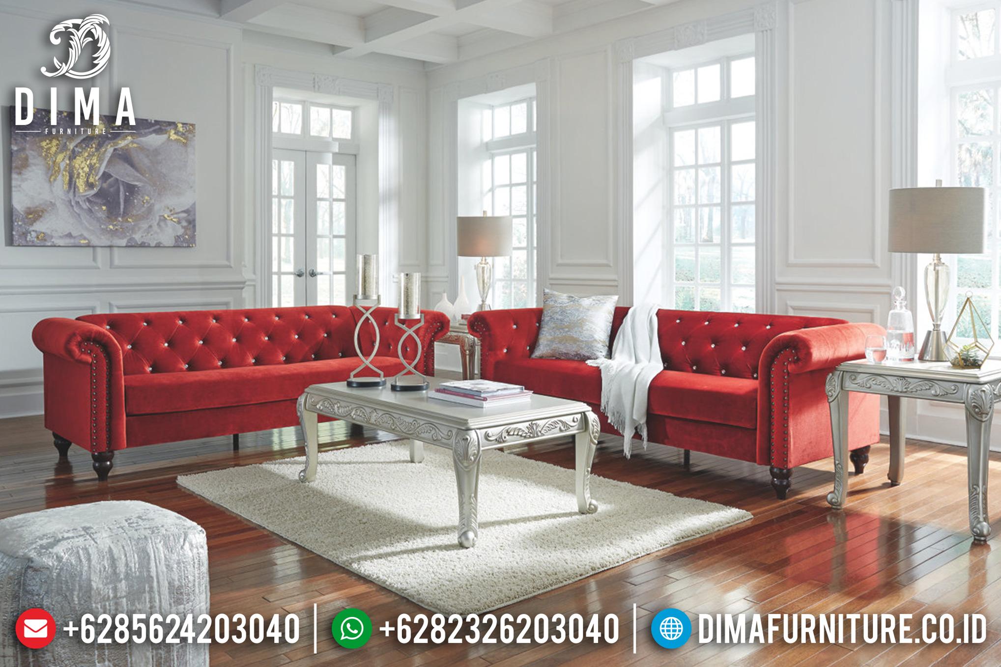 Beli 1 Set Sofa Tamu Minimalis Jepara Chester Terbaru Merah Bludru DF-0670 Gambar 1