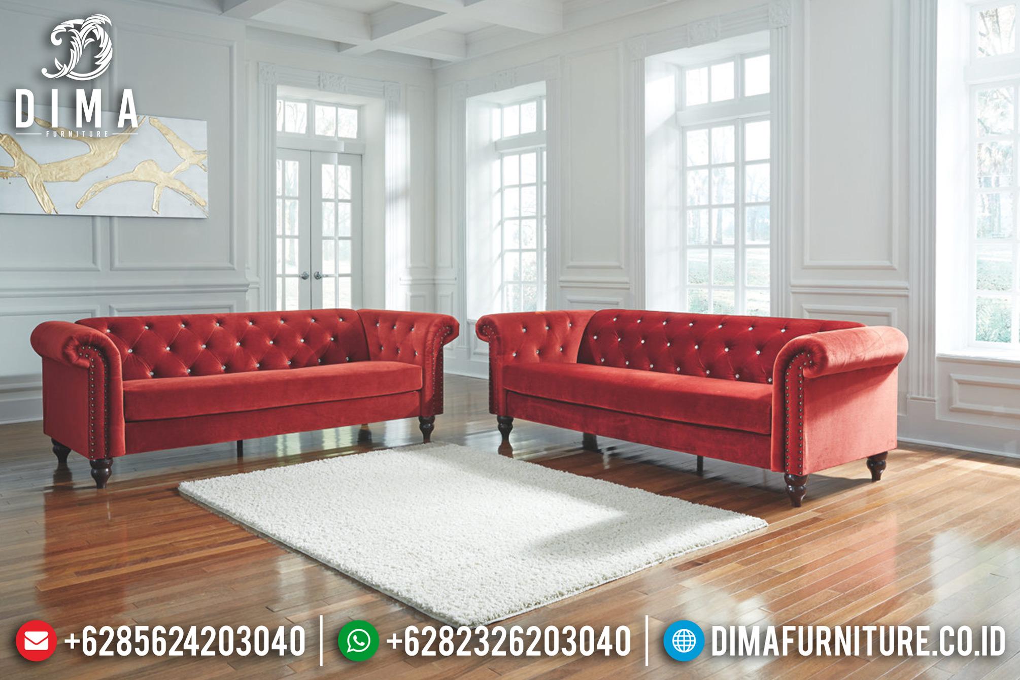 Beli 1 Set Sofa Tamu Minimalis Jepara Chester Terbaru Merah Bludru DF-0670 Gambar 2