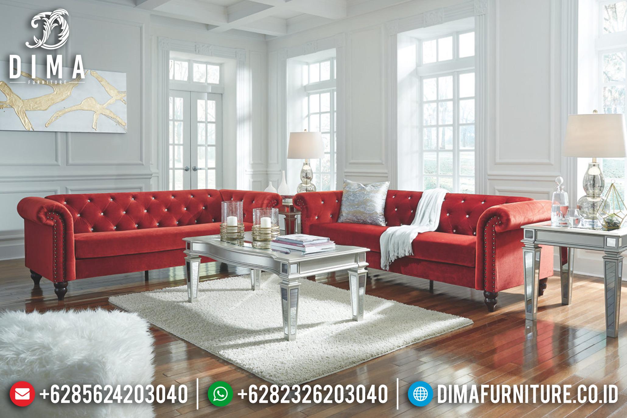 Beli 1 Set Sofa Tamu Minimalis Jepara Chester Terbaru Merah Bludru DF-0670