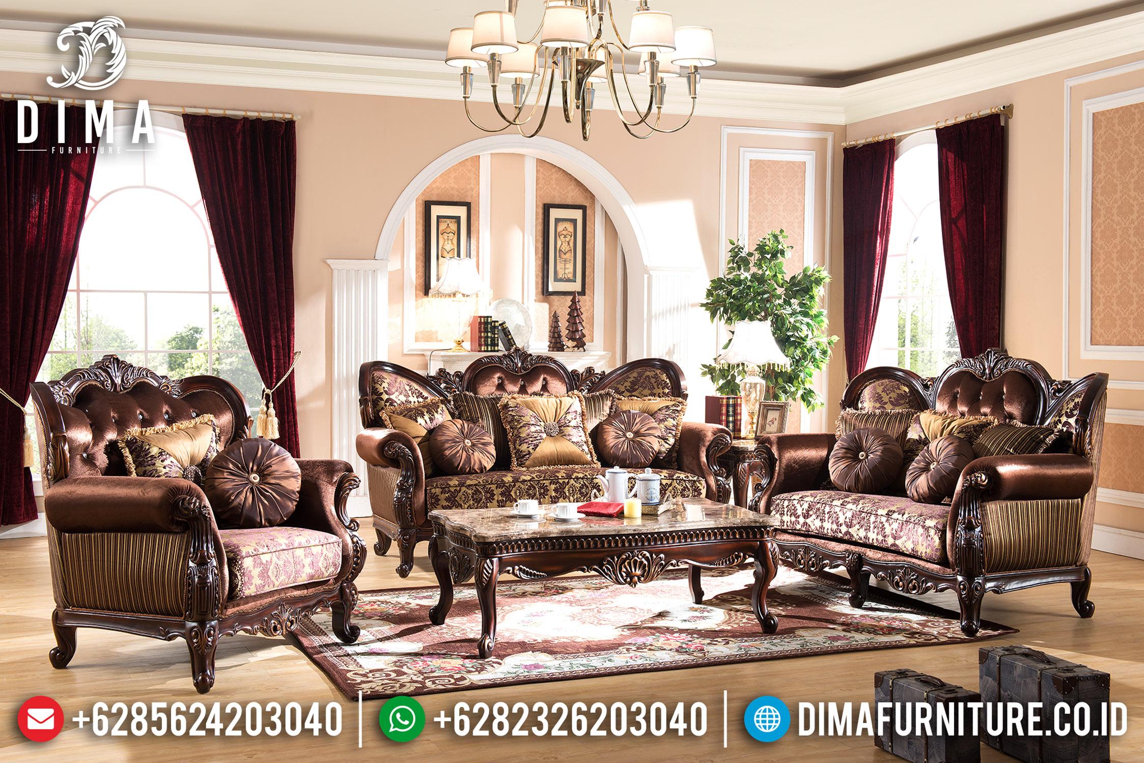 Jual Furniture Indonesia Set Sofa Tamu Mewah Jepara Klasik Natural DF-0685