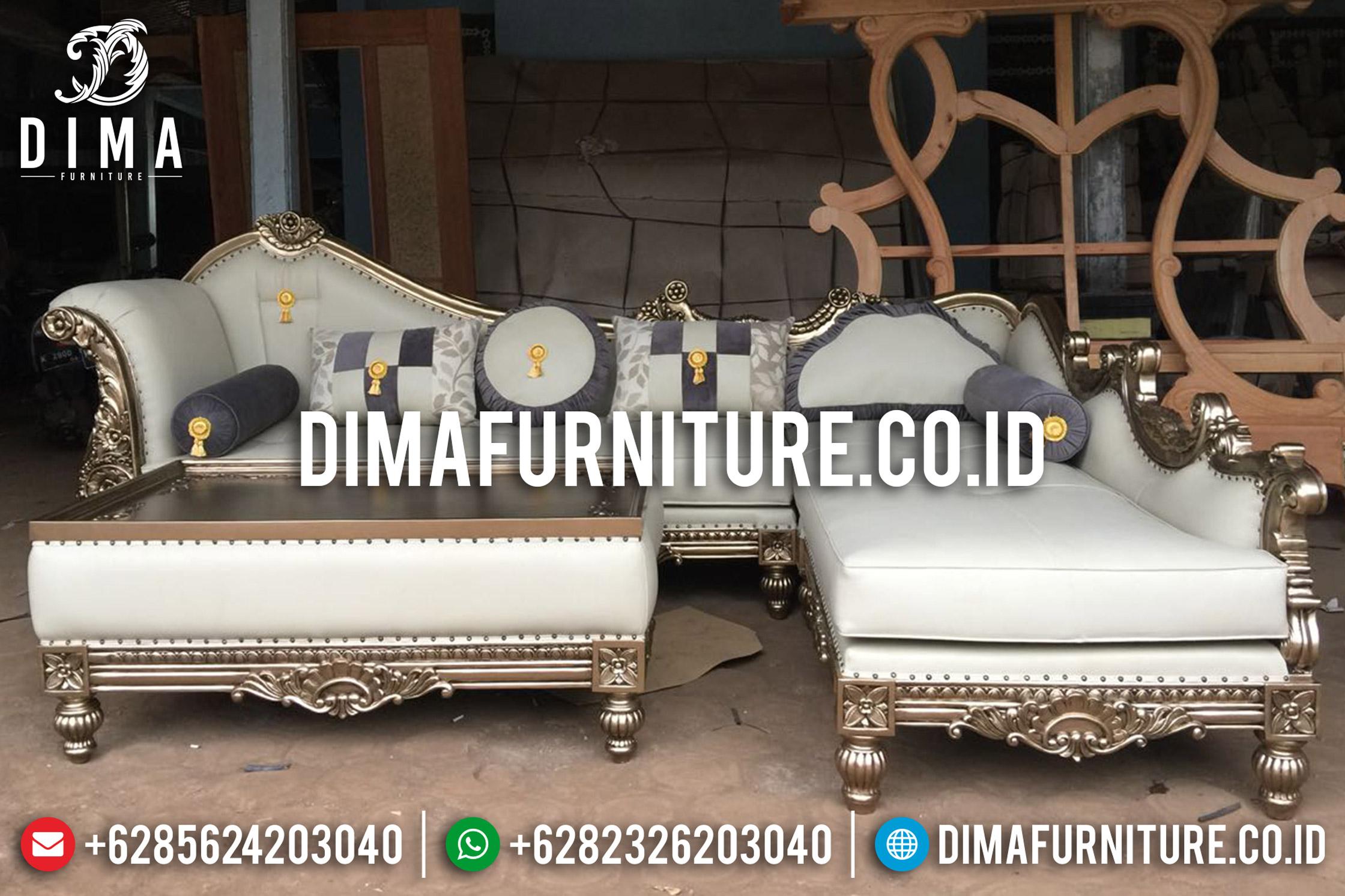 Jual Kursi Sofa Tamu Jepara Mewah Sudut L Klasik Emas Duco Terbaru DF-0666 Gambar 1