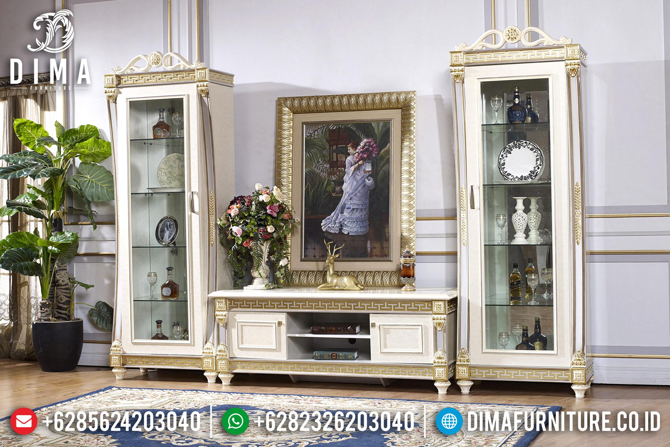 Lemari Hias Bufet TV Jepara Ukiran Klasik Mewah Tiara Putih Emas DF-0677