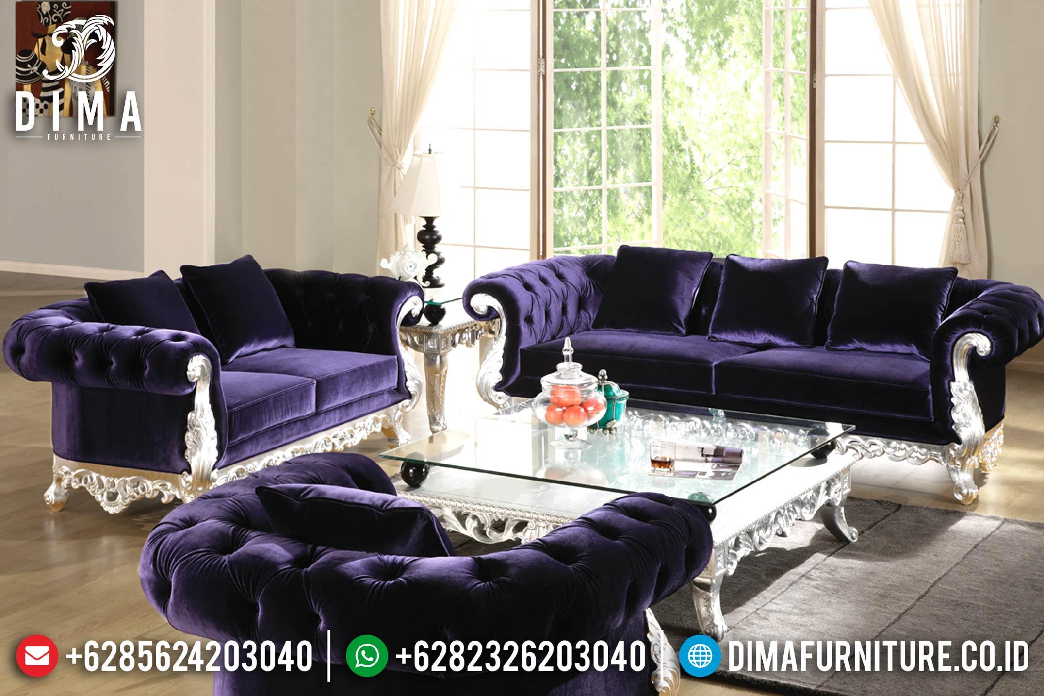 Jual 1 Set Sofa Ruang Tamu Mewah Jepara Classic Rococo Silver Purple DF-0698