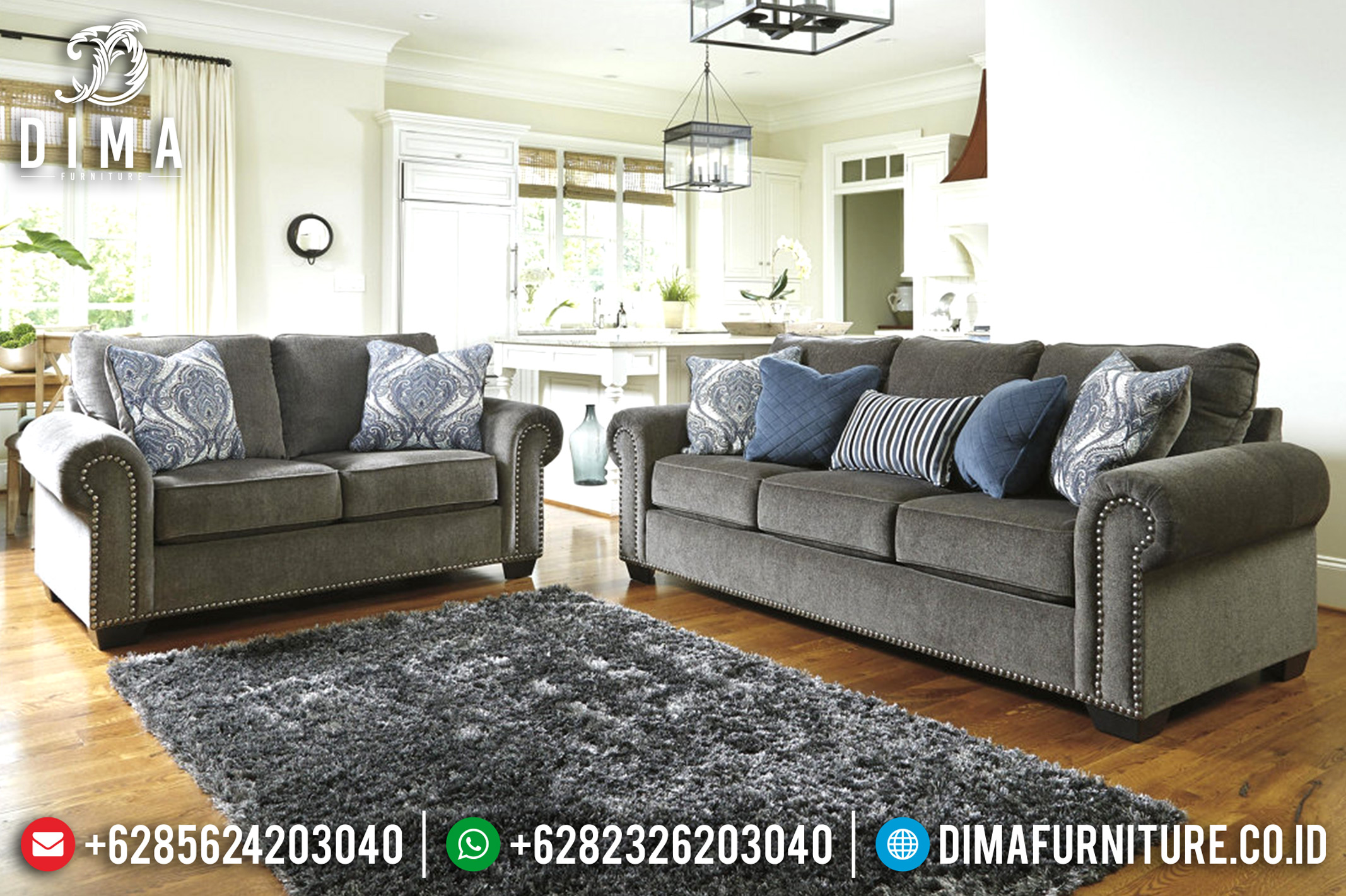 Sofa Tamu Jepara Minimalis Mewah Terbaru Grey Canvas Furniture Indonesia DF-0693