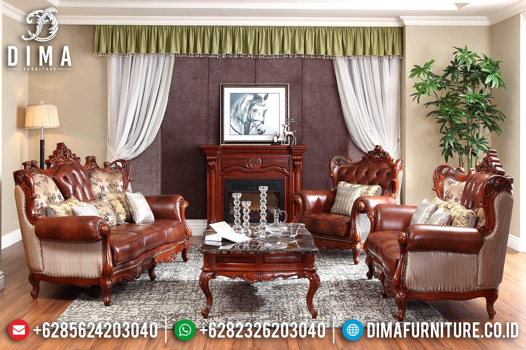 1 Set Sofa Tamu Jepara Mewah Klasik Jati Jok Kulit Sintetis DF-0708