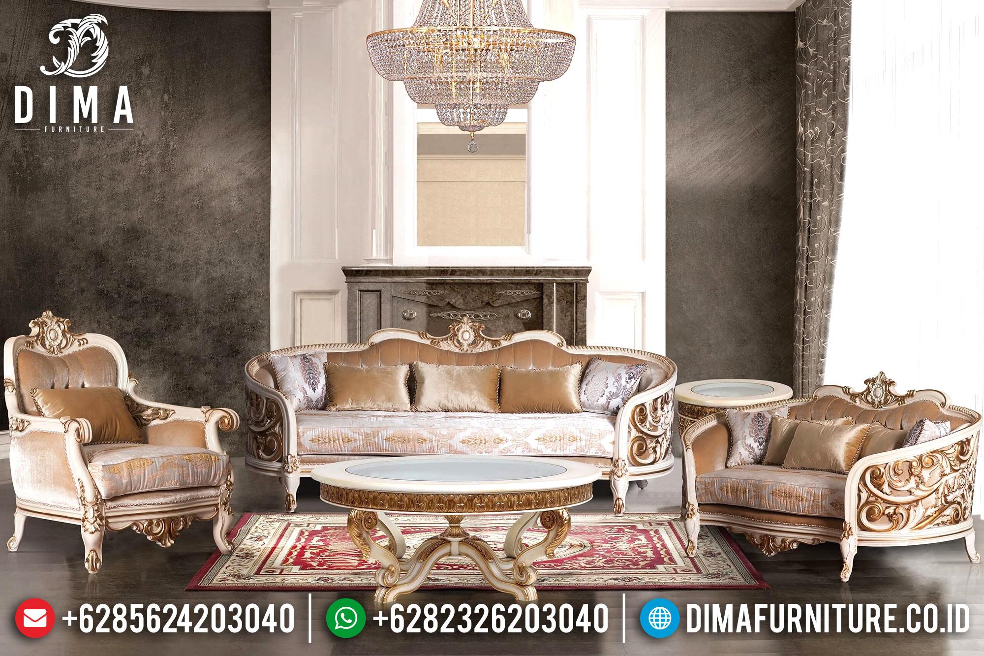 Furniture Indonesia Sofa Tamu Jepara Mewah Ukiran Klasik Putih Emas DF-0710