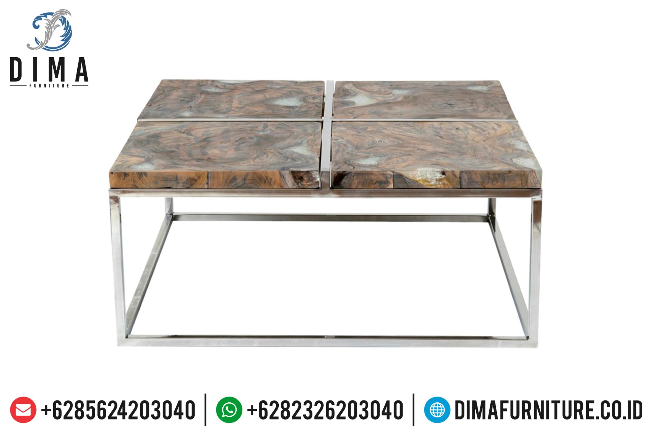Mebel Jepara Meja Jati Minimalis Resin Furniture Indonesia Terbaru DF-0706
