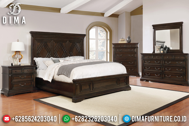 Set Tempat Tidur Mewah Minimalis Jepara Jati Natural PU Terbaru DF-0735