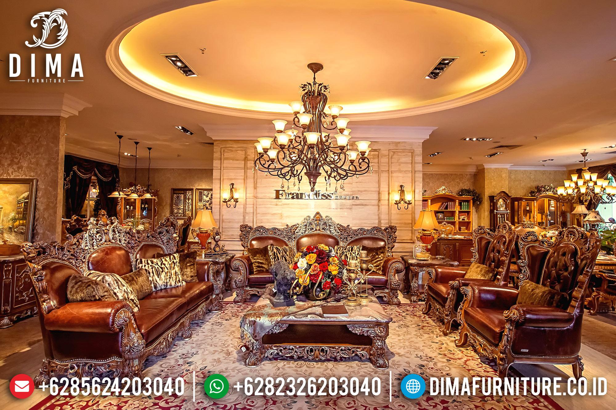 Super Mewah Sofa Tamu Jepara Klasik 4 3 1 1 Jati Ukiran Terbaru DF-0709