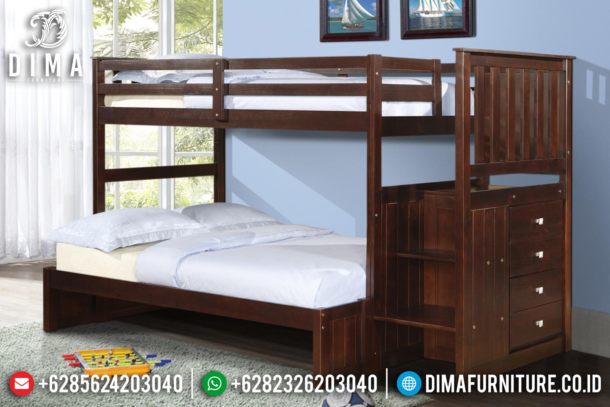 Tempat Tidur Anak Minimalis Model Tingkat Jati Jepara Natural DF-0744