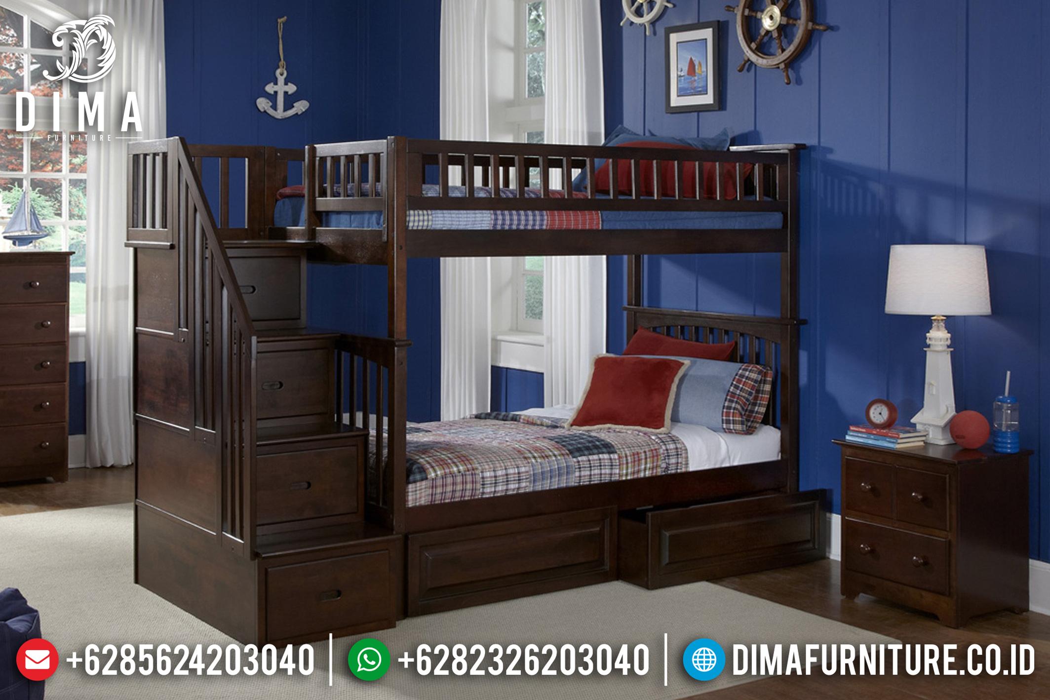 Tempat Tidur Anak Tingkat Minimalis Jati Jepara Terbaru 2019 DF-0743