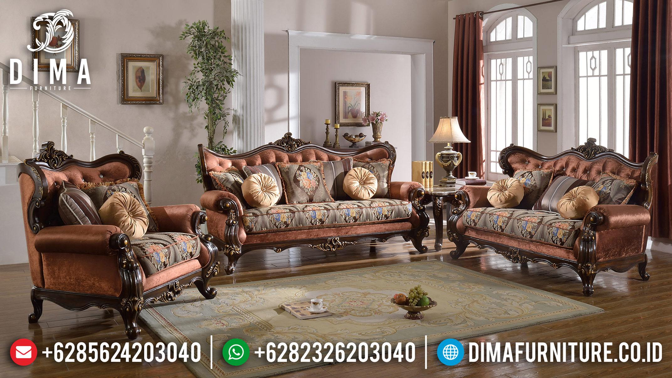 Jati Ukiran Klasik Set Sofa Tamu Mewah Jepara Natural Ferguso DF-0760