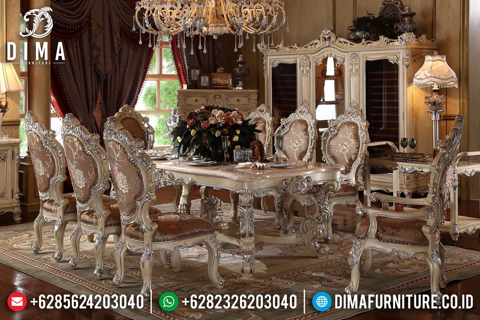 Model Set Meja Makan Jepara Mewah Ukiran Minerva Duco Cream Silver DF-0756