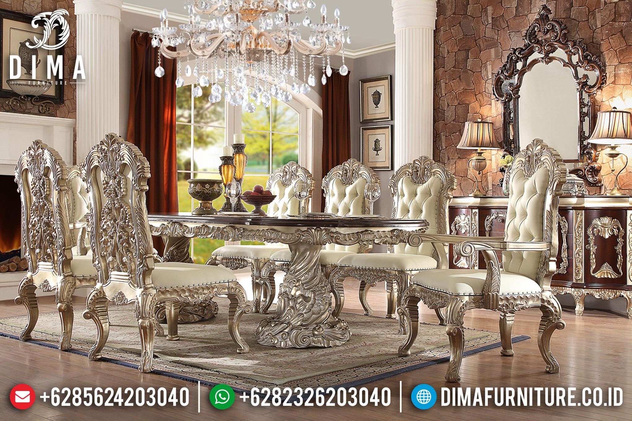 Set 8 Kursi Meja Makan Mewah Terbaru Ukiran Jepara Klasik Duco Silver DF-0757
