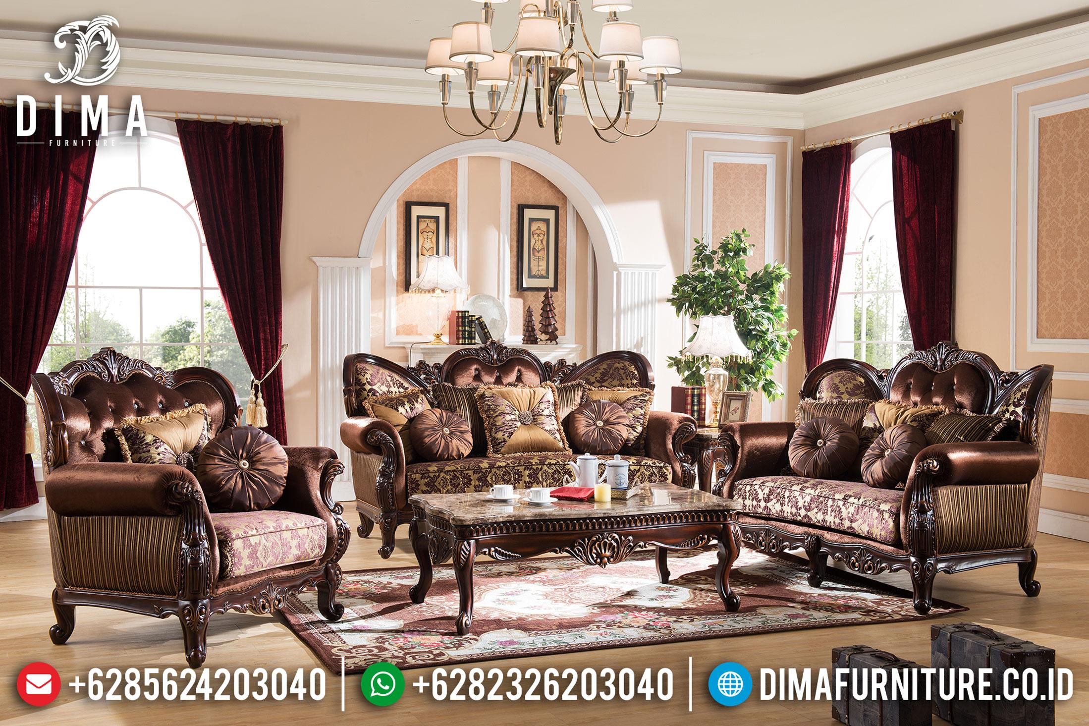 Set Sofa Tamu Mewah Jepara Ukiran Klasik Terbaru Jati Natural Victorian DF-0753