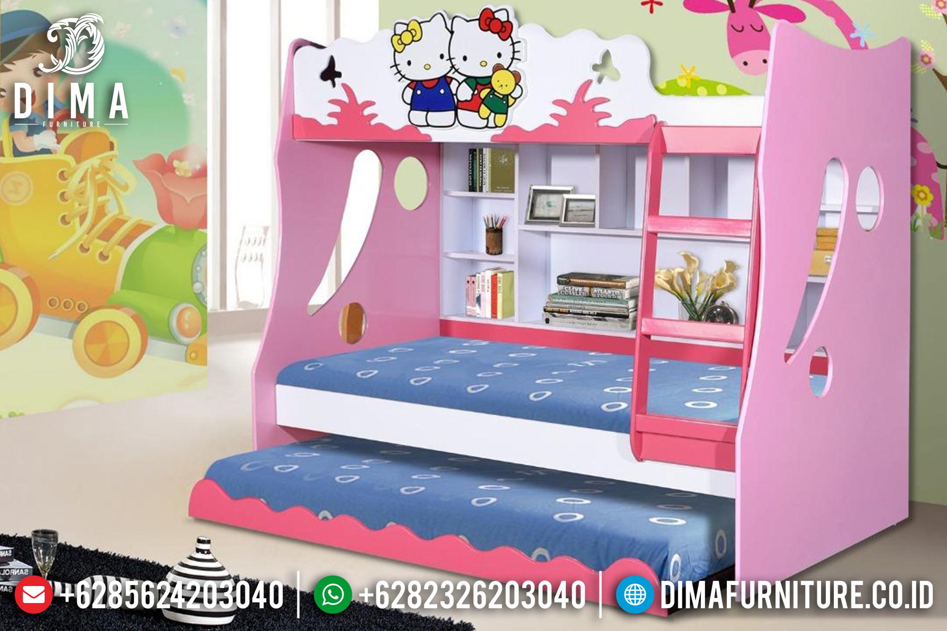 Tempat Tidur Minimalis Anak, Bunk Beds Hello Kitty, Dipan Anak Tingkat DF-0766