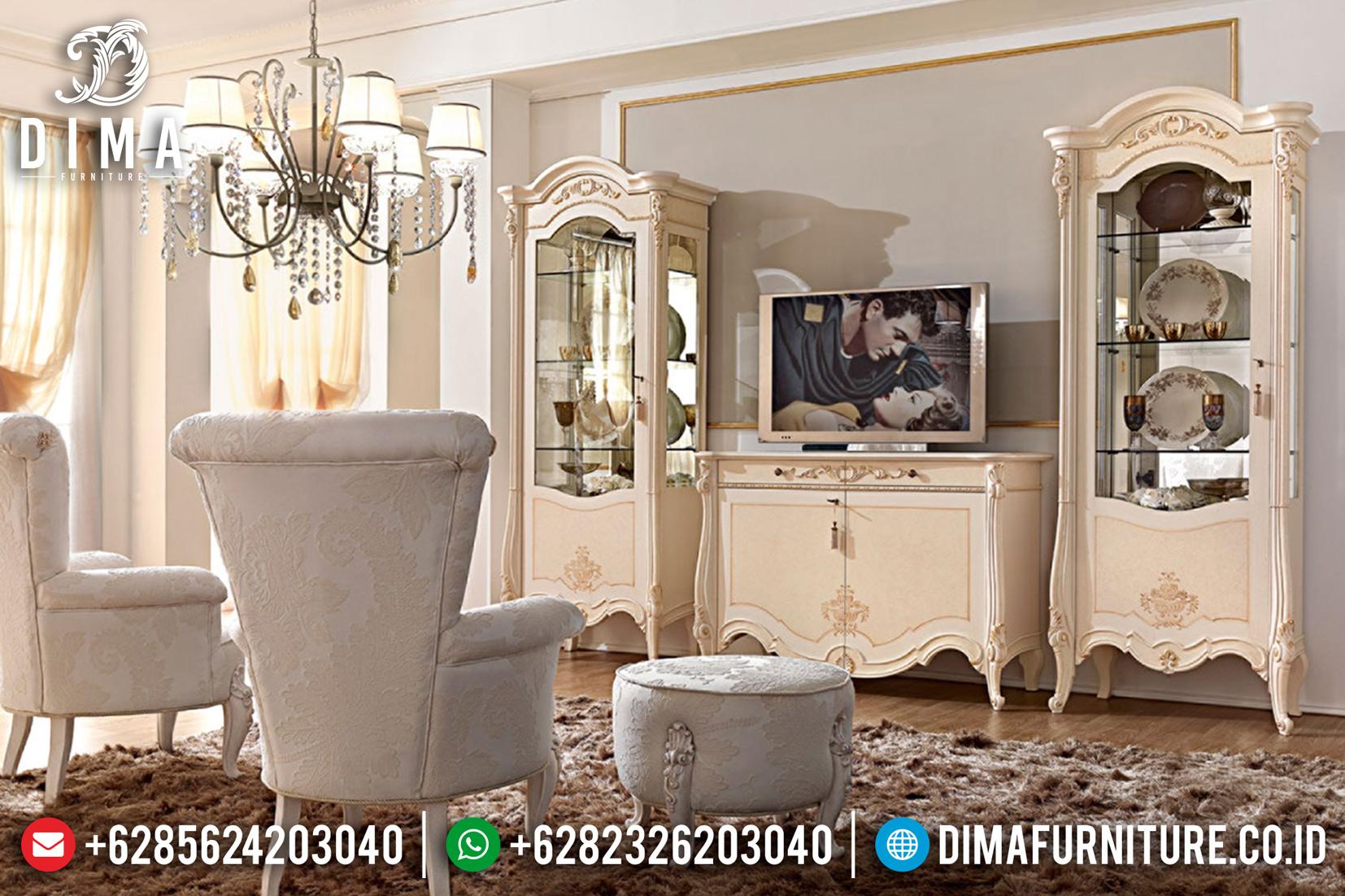 Bufet TV Jepara Mewah, Lemari Pajangan Duco, Meja TV Mewah Klasik DF-0782