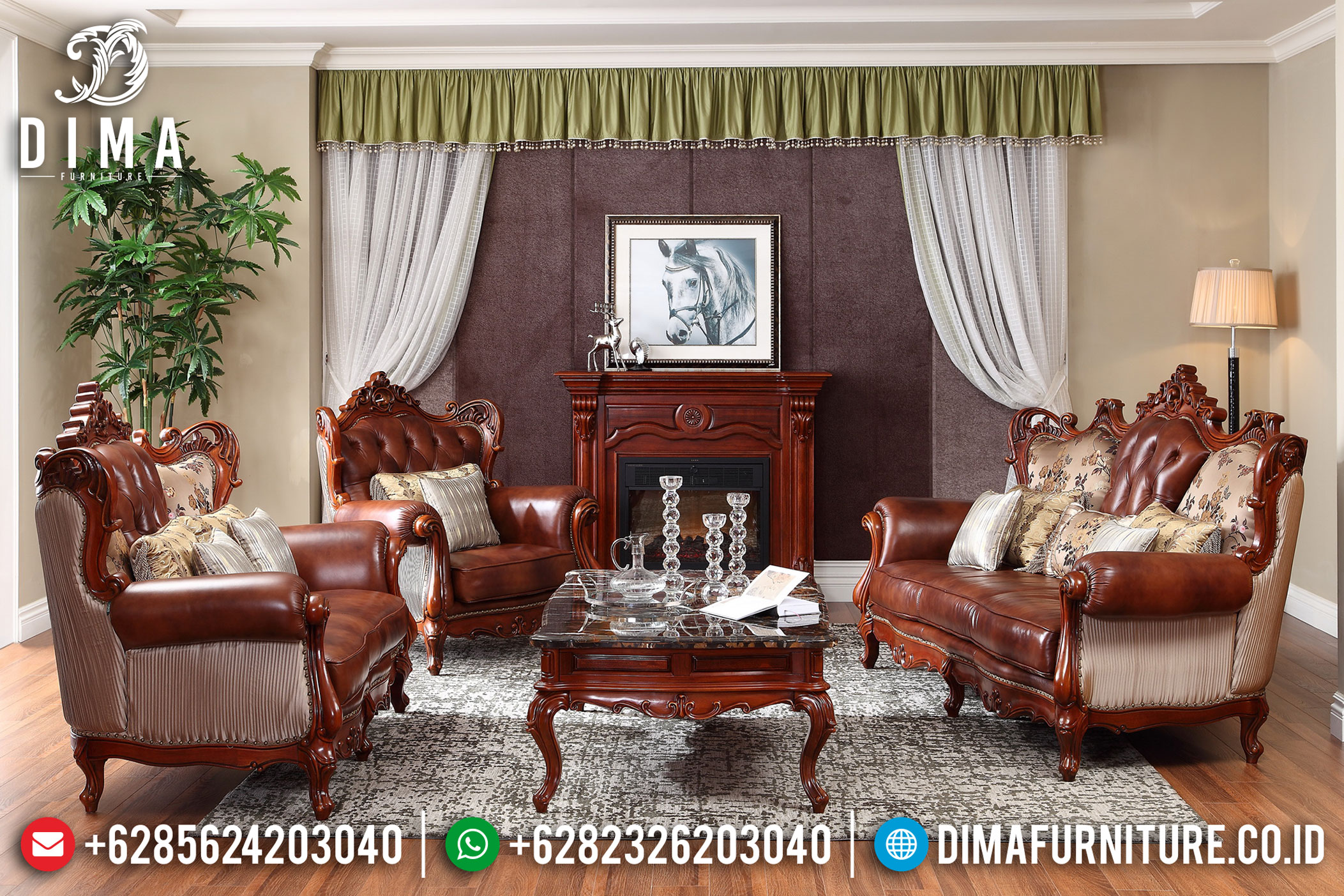 Set Sofa Tamu Jepara Mewah Klasik Jati Ukiran Terbaru Bella DF-0770
