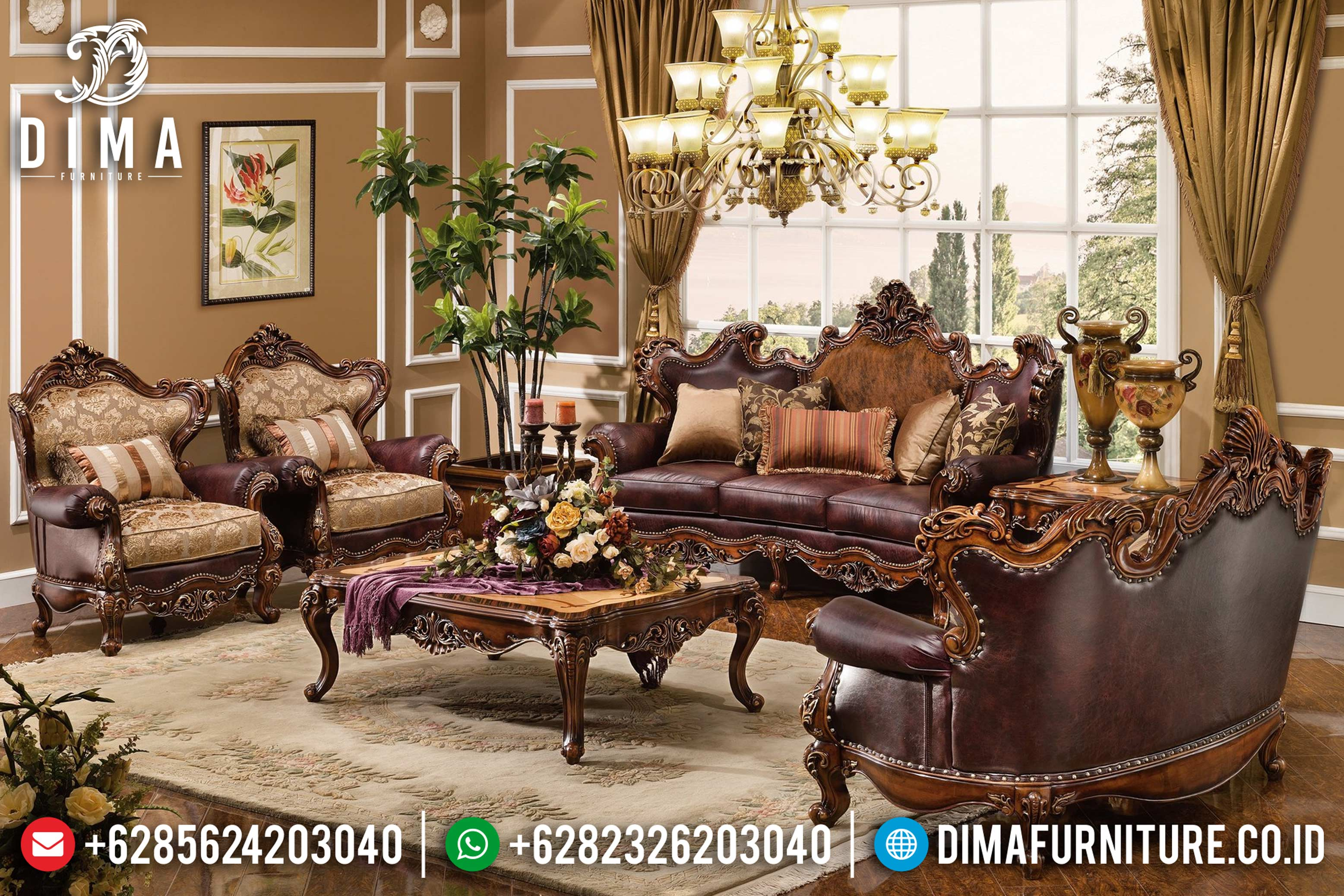 Terlaris! 3 2 1 1 Set Sofa Tamu Jepara Mewah Ukiran Klasik Jati Andmesh DF-0785