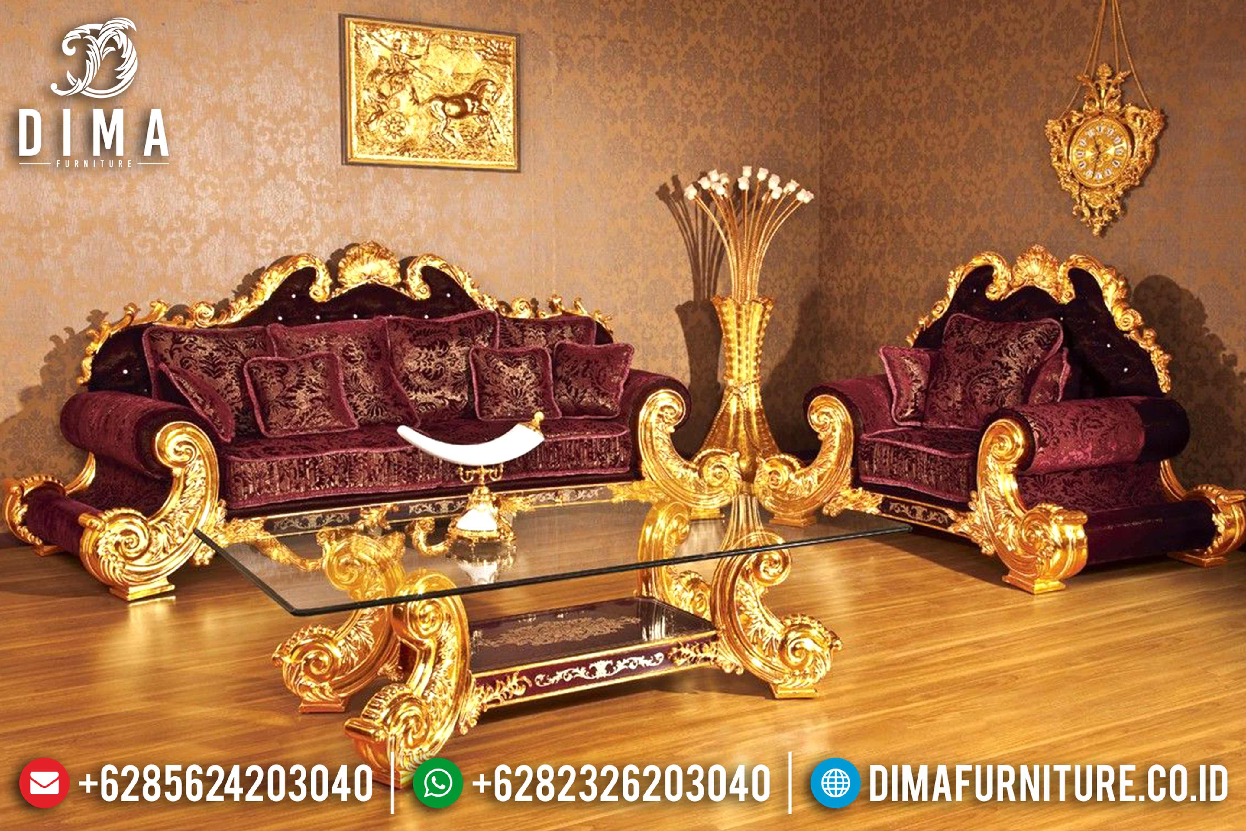 Kursi Ruang Tamu Jepara, Sofa Tamu Mewah, Sofa Jackson Gold Leaf DF-0795