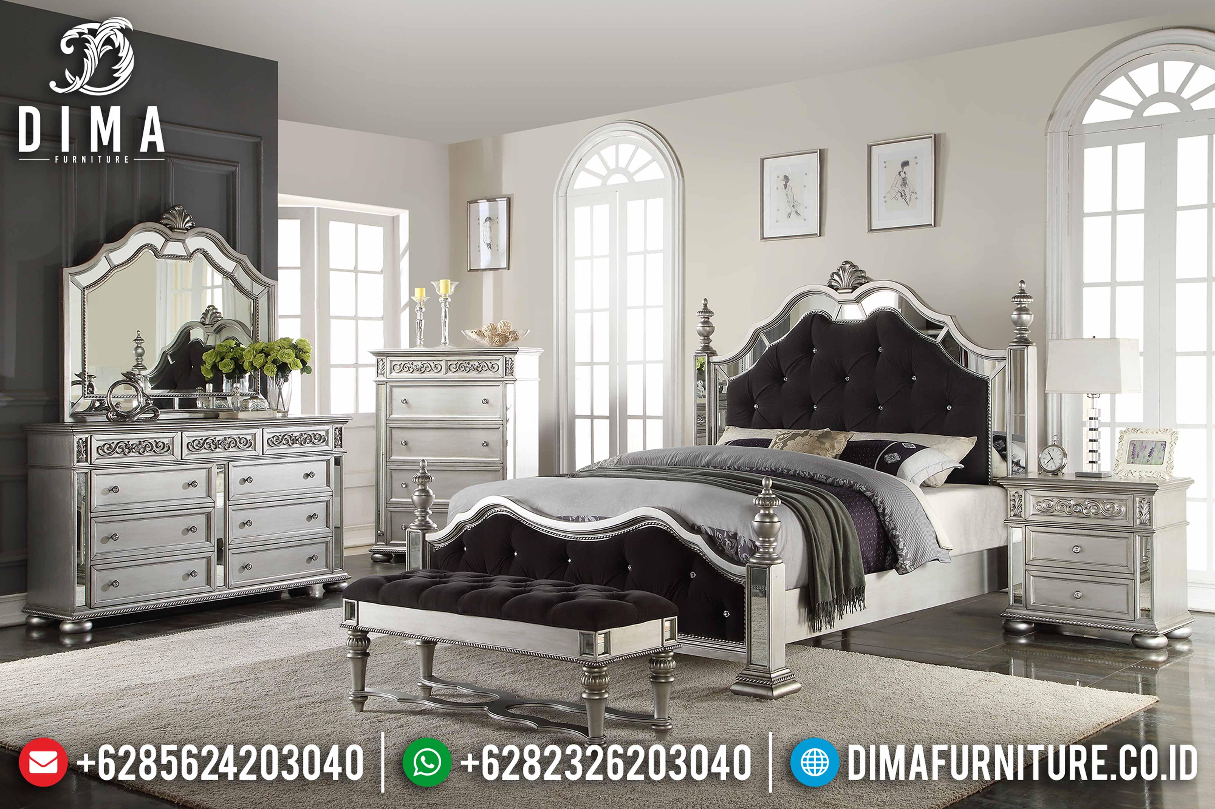 Set Tempat Tidur Mewah Minimalis Jepara Aksen Cermin Silver Duco DF-0800