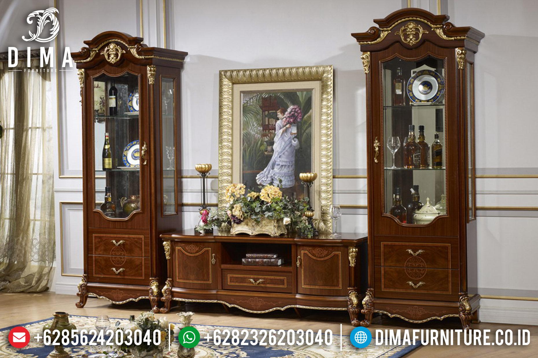 Bufet TV Jati Jepara, Bufet TV Mewah Jepara, Lemari Hias Jati Natural DF-0828