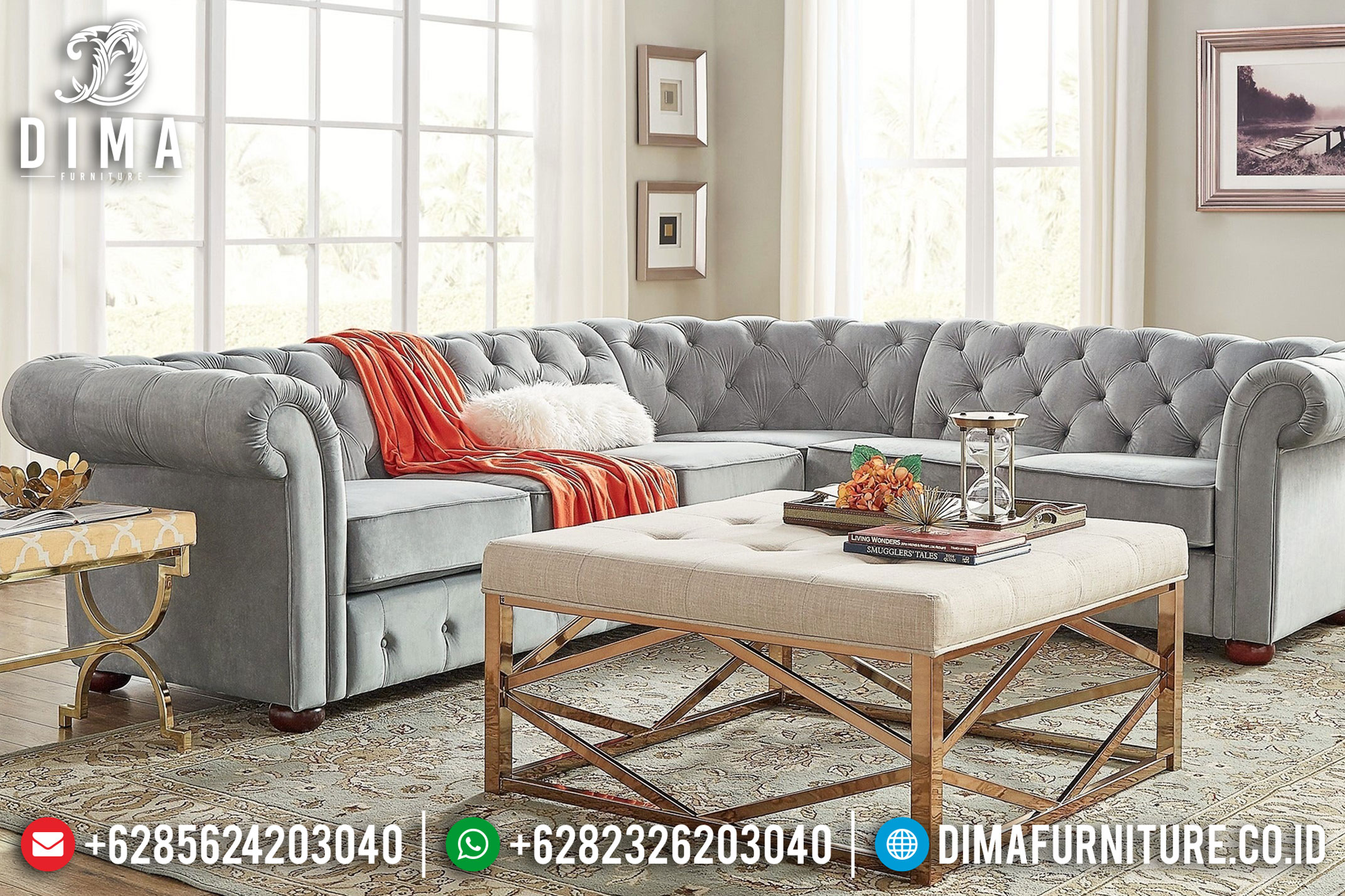 Chesterfield Tufted Sofa Tamu Minimalis Jepara Mewah Model Terbaru DF-0858