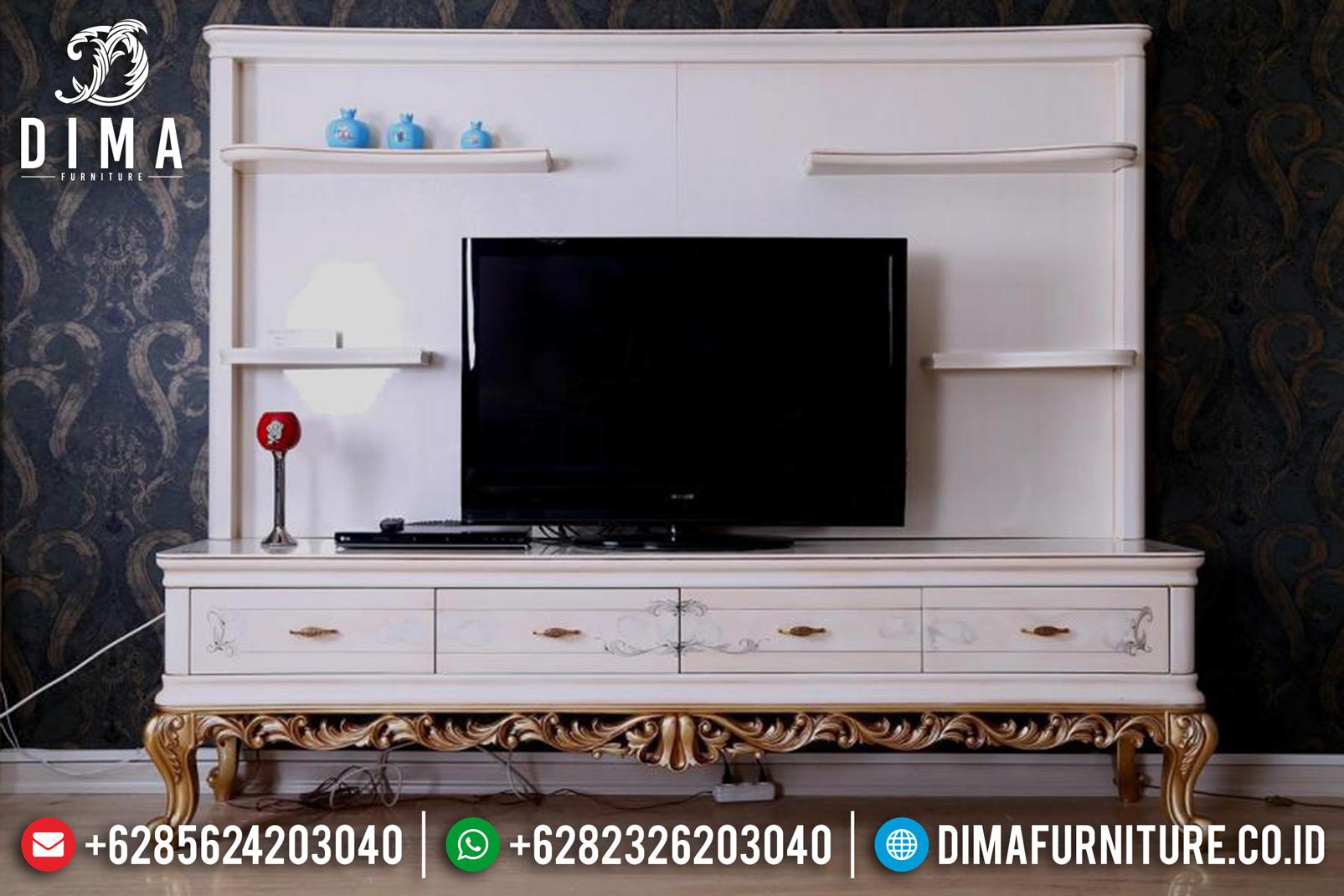 Jual 1 Set Bufet TV Mewah Minimalis Ukiran Jepara Duco Putih Emas DF-0830