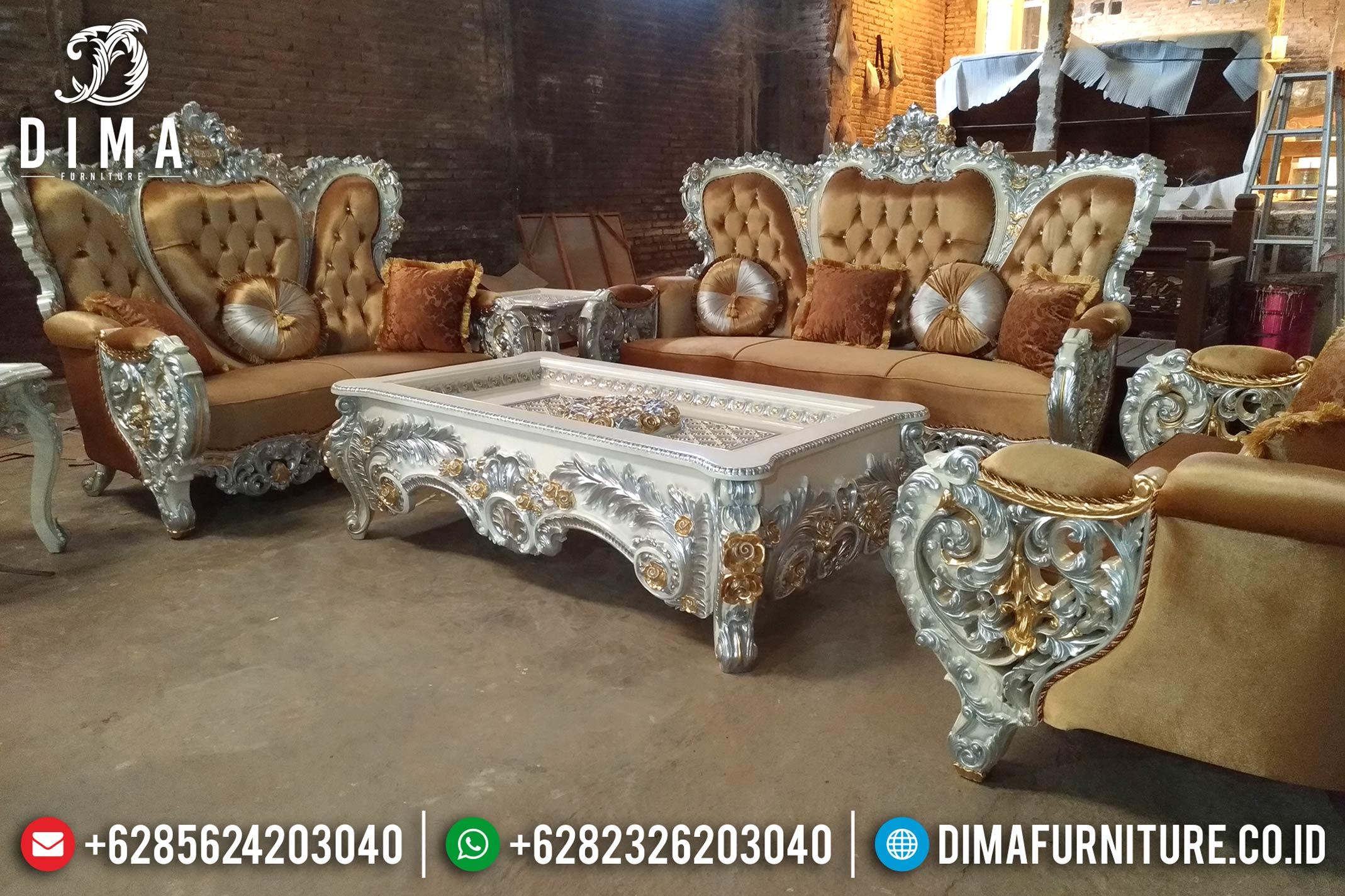 Jual Kursi Sofa Tamu Mewah Bellagio Ukiran Jepara Terbaru Duco Putih Emas DF-0860 Gambar 1