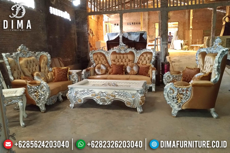 Jual Kursi Sofa Tamu Mewah Bellagio Ukiran Jepara Terbaru Duco Putih Emas DF-0860
