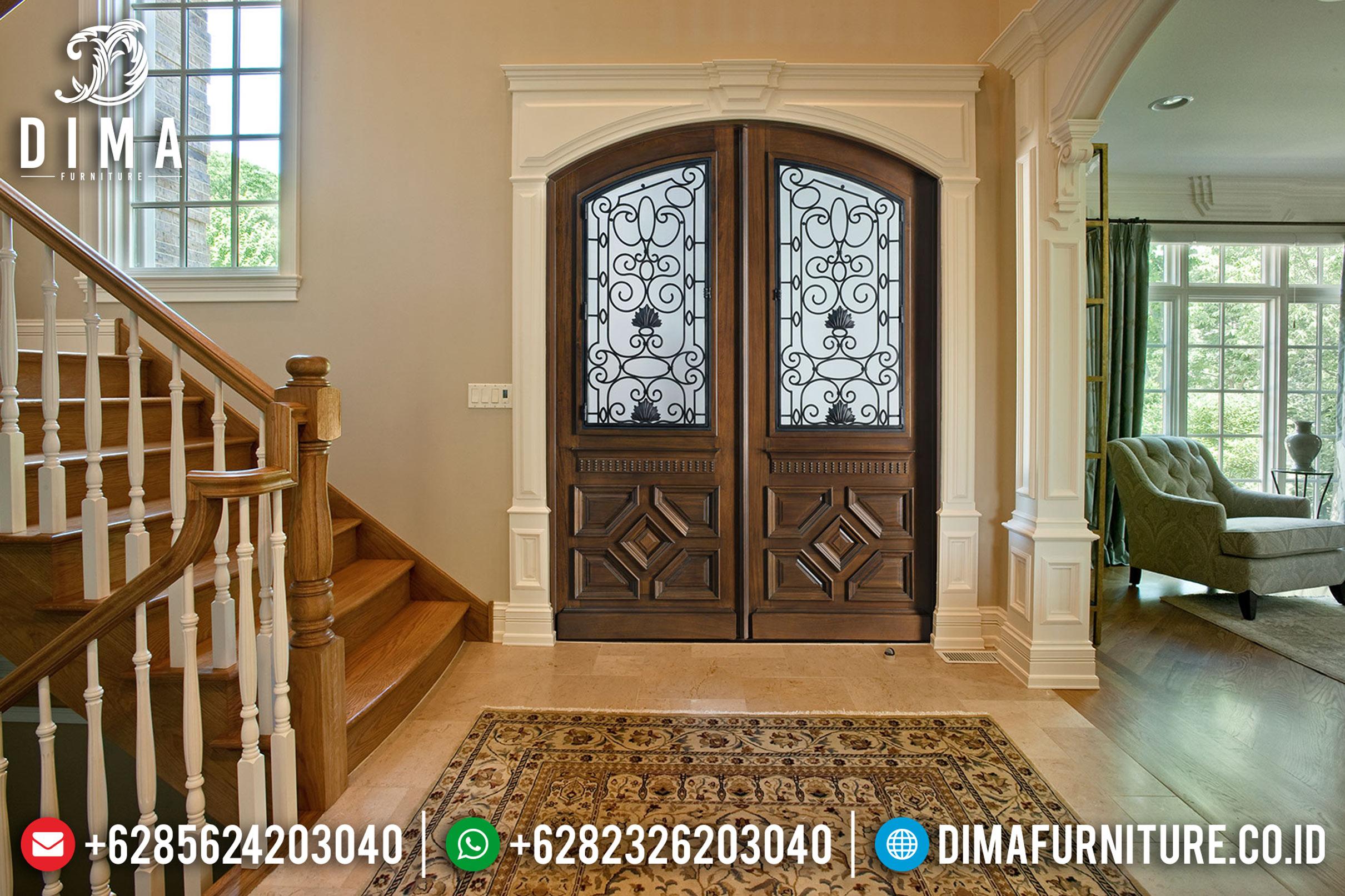 Jual Pintu Jati Jepara, Kusen Pintu Utama Jati, Model Pintu Rumah Mewah DF-0848