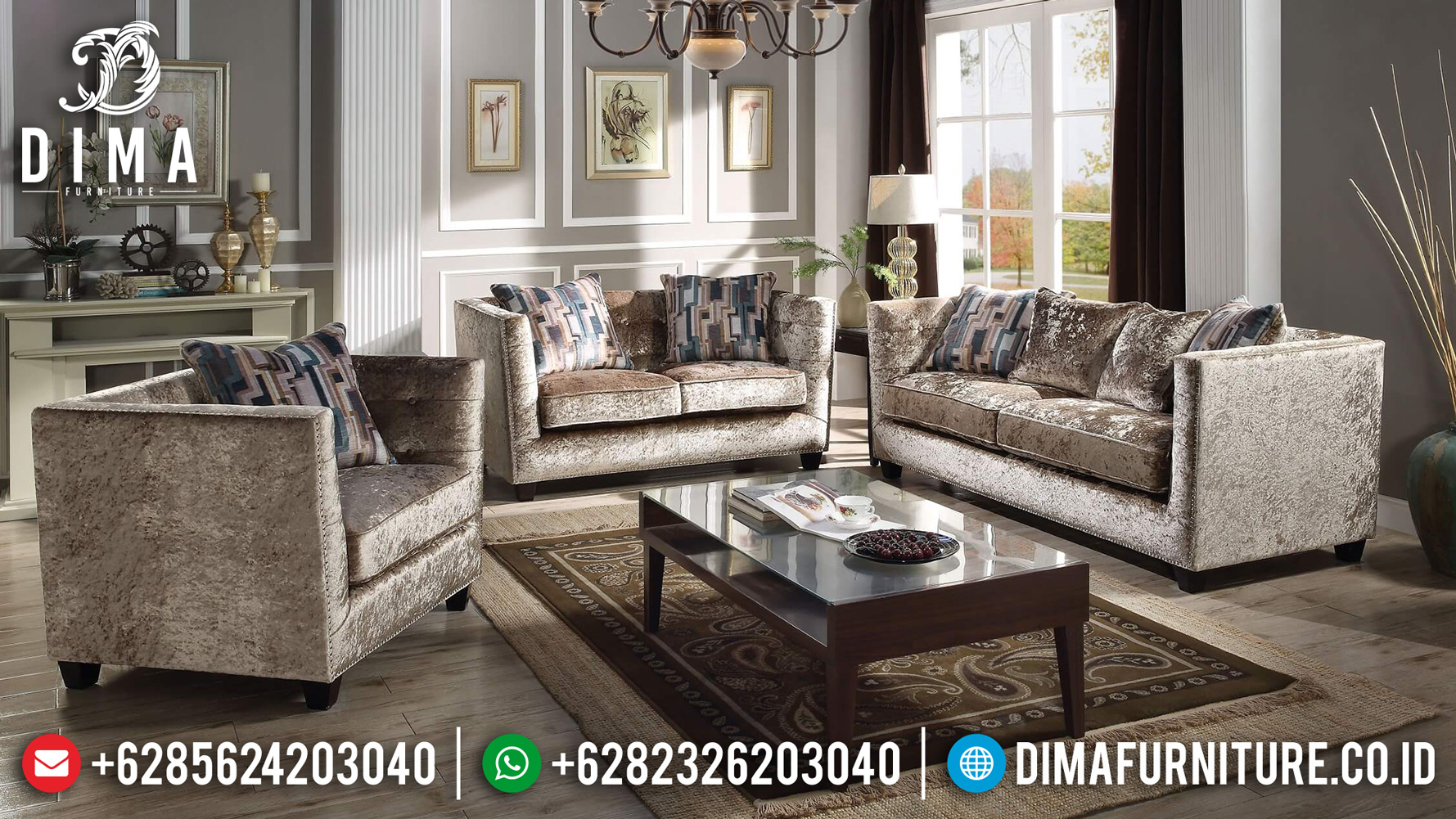 Jual Sofa Ruang Tamu, Sofa Tamu Minimalis Jepara, Kursi Mewah Minimalis DF-0837