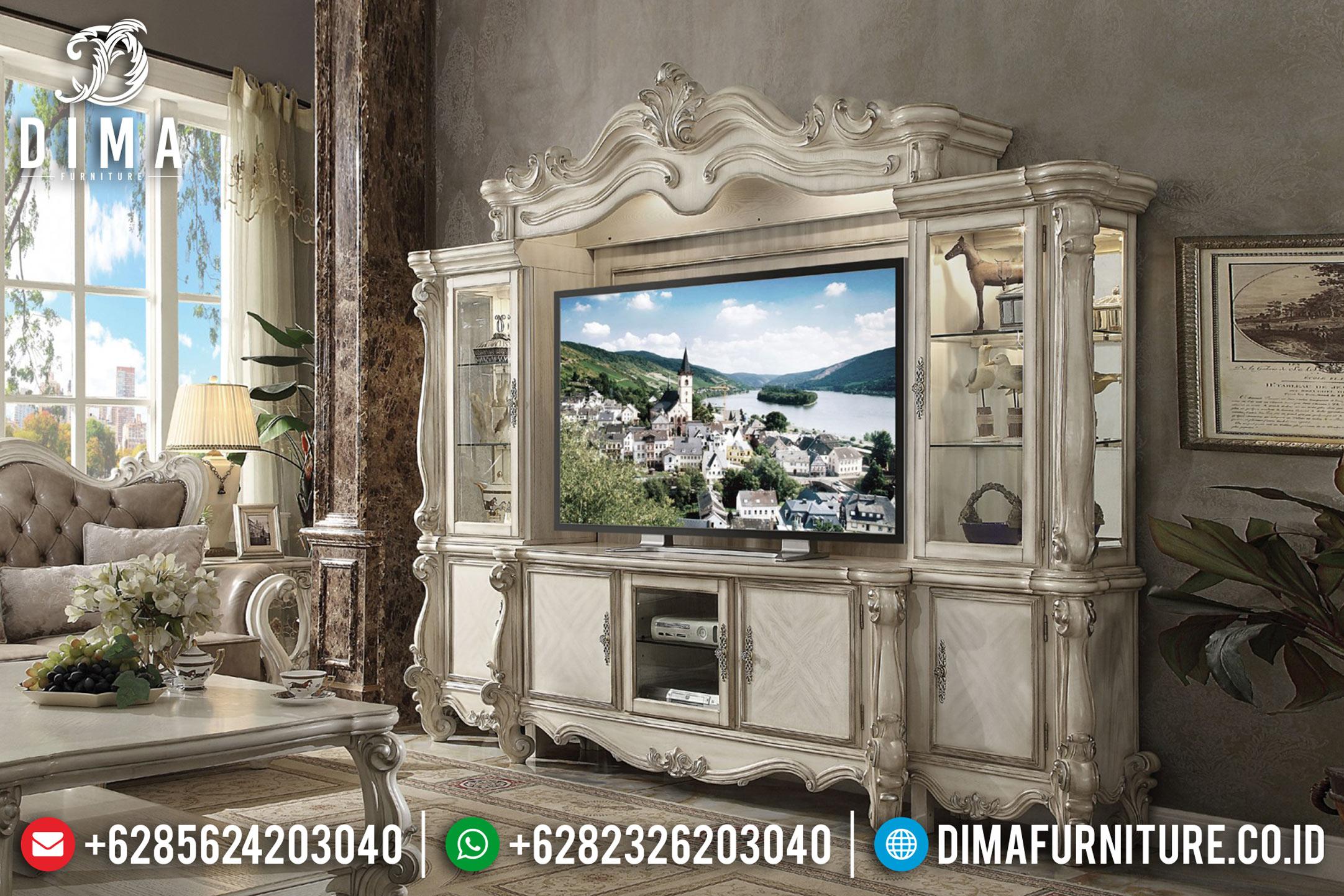 Model Bufet TV Mewah Jepara Terbaru Ukir Klasik Versailles Duco DF-0827